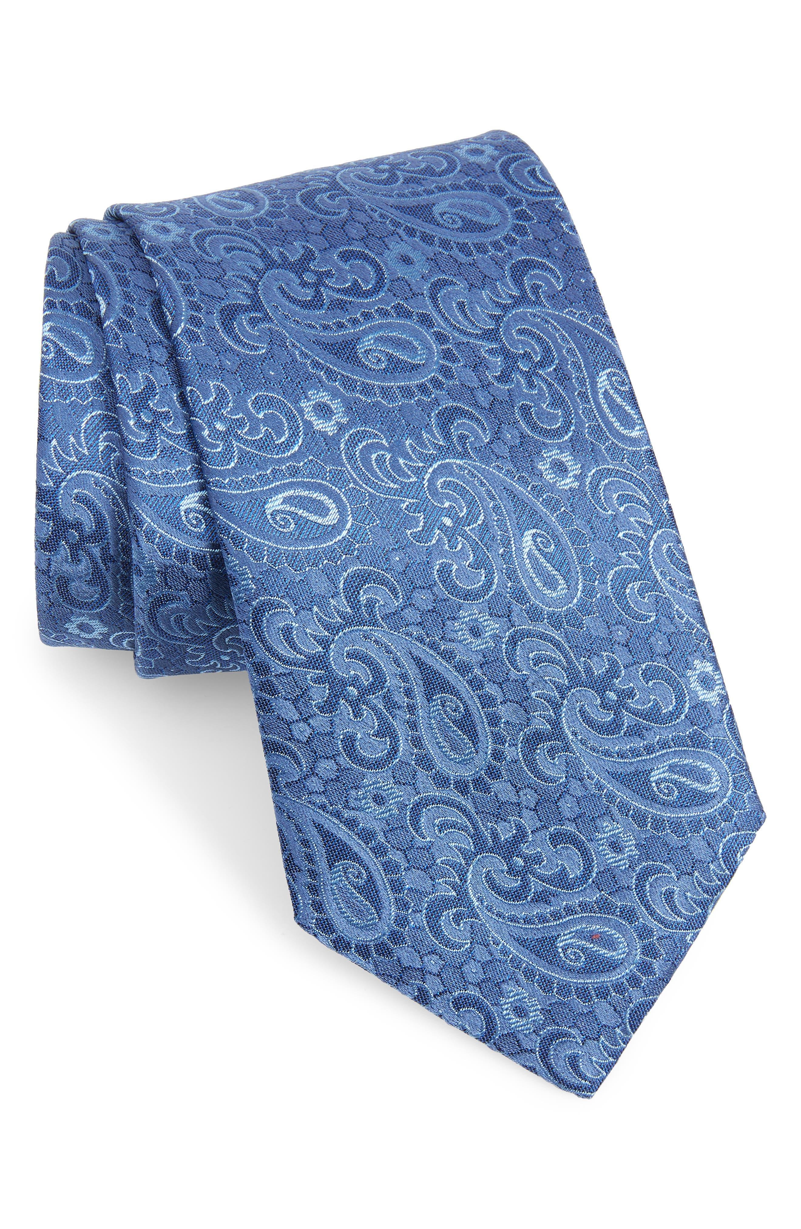 DAVID DONAHUE, Paisley Silk Tie, Main thumbnail 1, color, BLUE