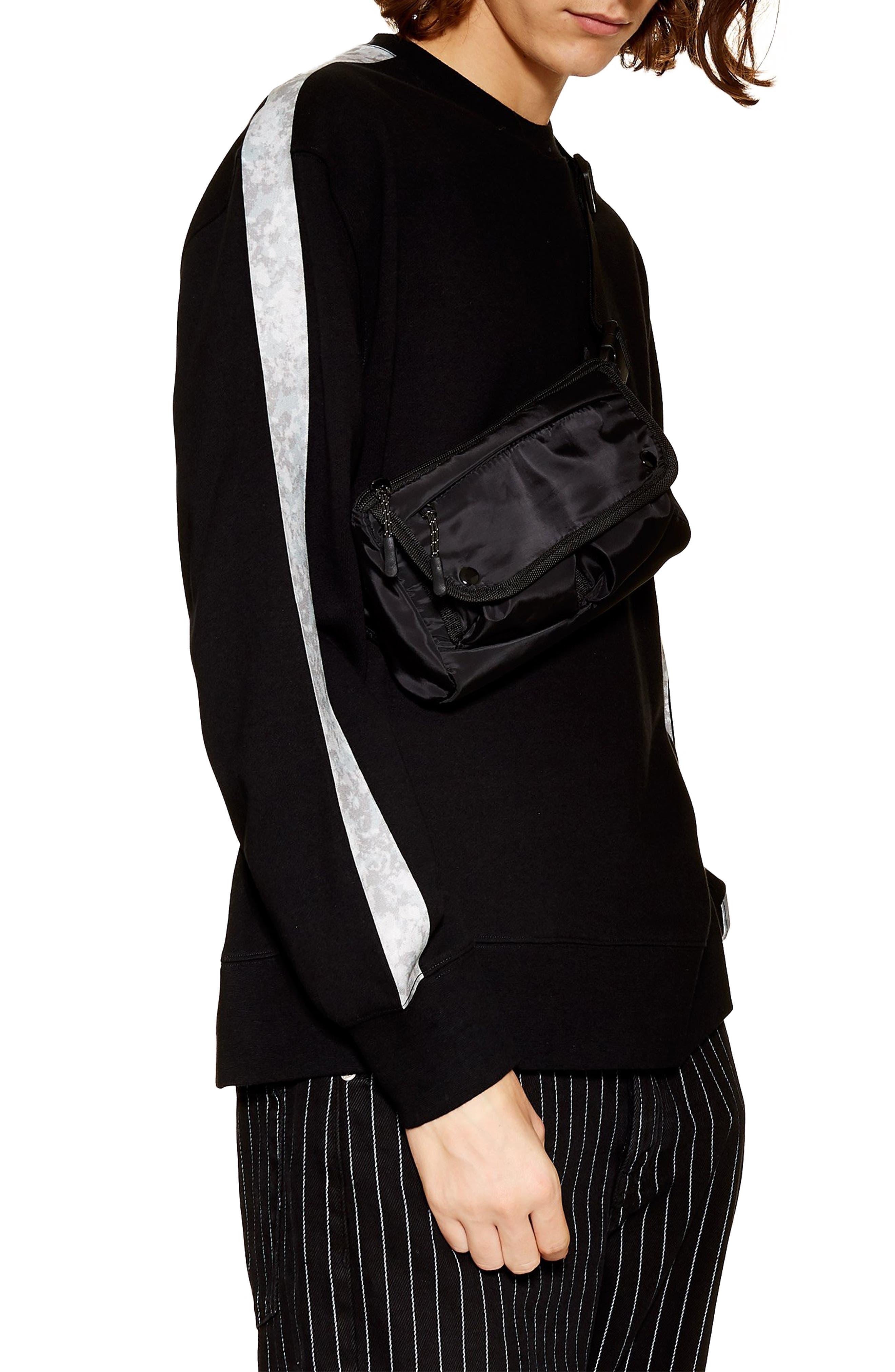 TOPMAN Sublimated Tape Crewneck Sweatshirt, Main, color, BLACK MULTI