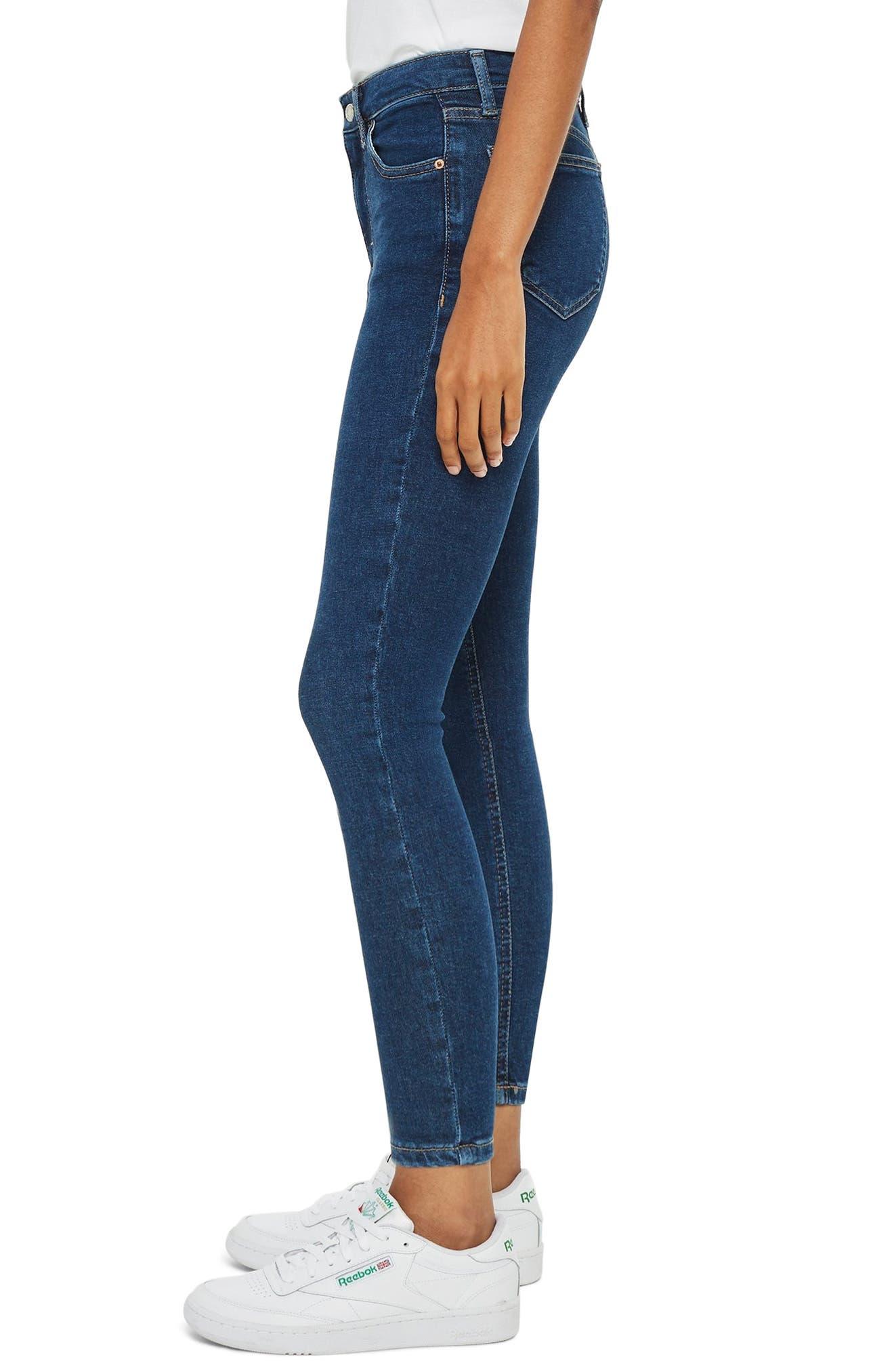 TOPSHOP, Jamie Skinny Jeans, Alternate thumbnail 4, color, INDIGO