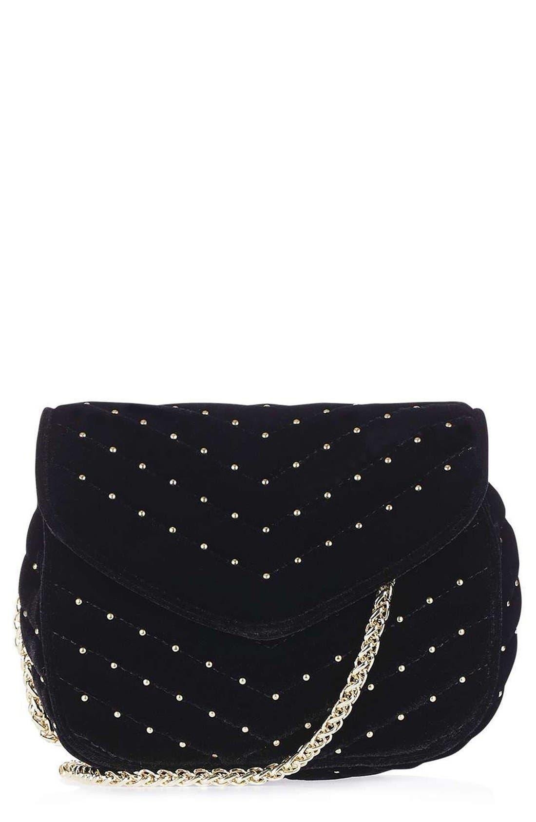 TOPSHOP, Embellished Velvet Crossbody Bag, Main thumbnail 1, color, 001