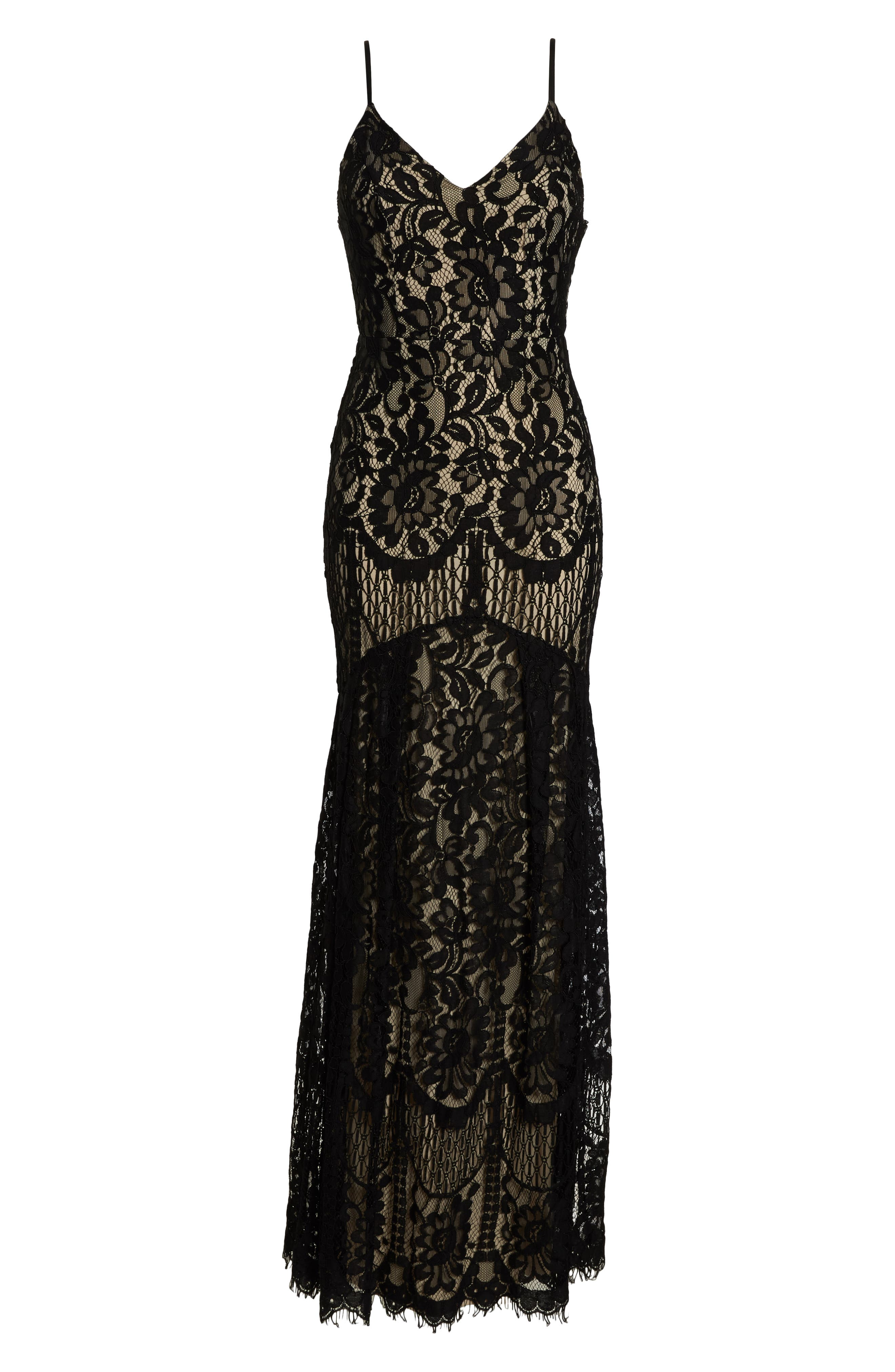 LULUS, Flynn Lace Gown with Train, Alternate thumbnail 7, color, BLACK/ NUDE