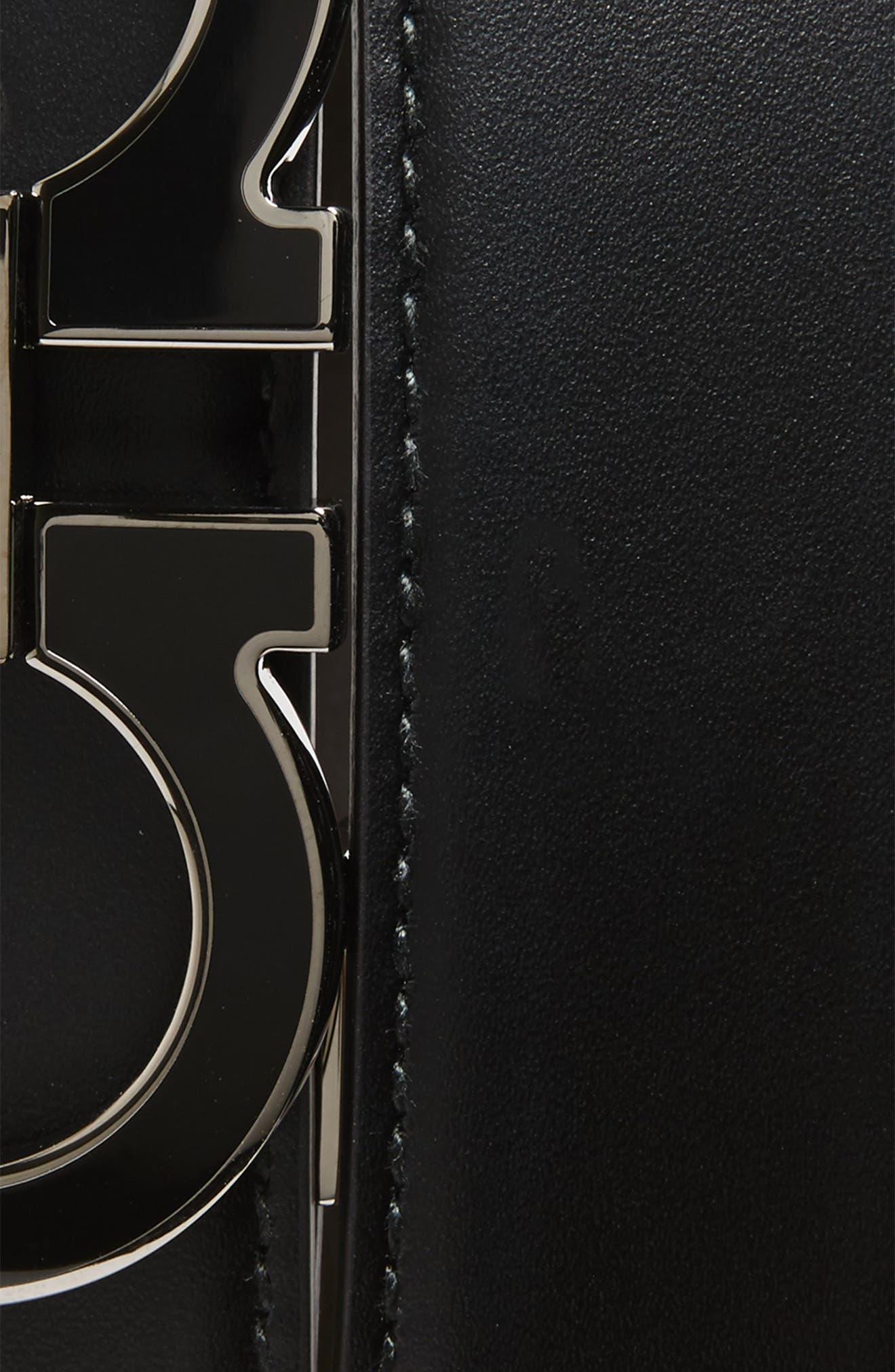 SALVATORE FERRAGAMO, Double Gancio Leather Belt, Alternate thumbnail 2, color, BLACK