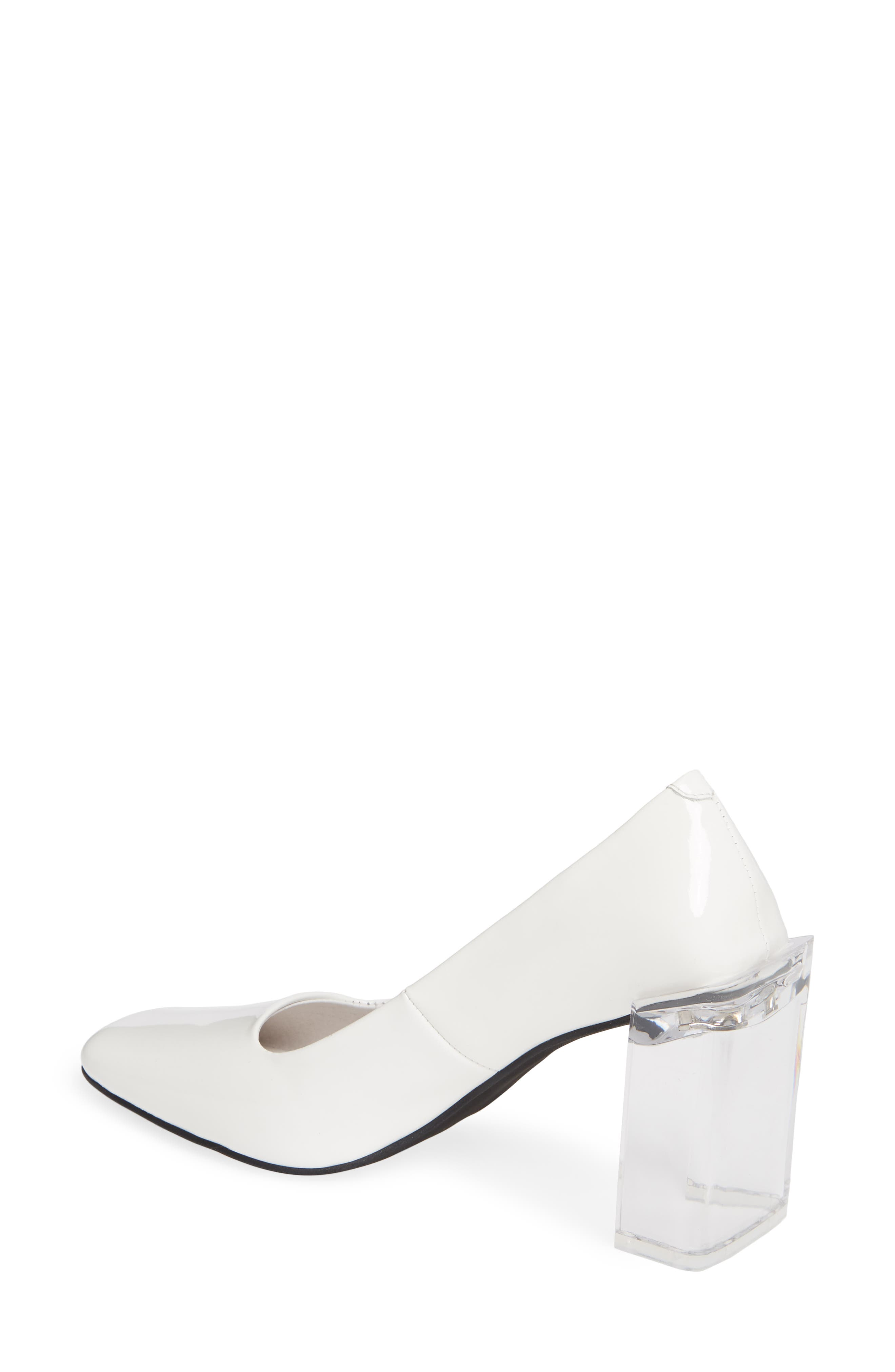 JEFFREY CAMPBELL, Graff Clear Heel Pump, Alternate thumbnail 2, color, WHITE PATENT LEATHER