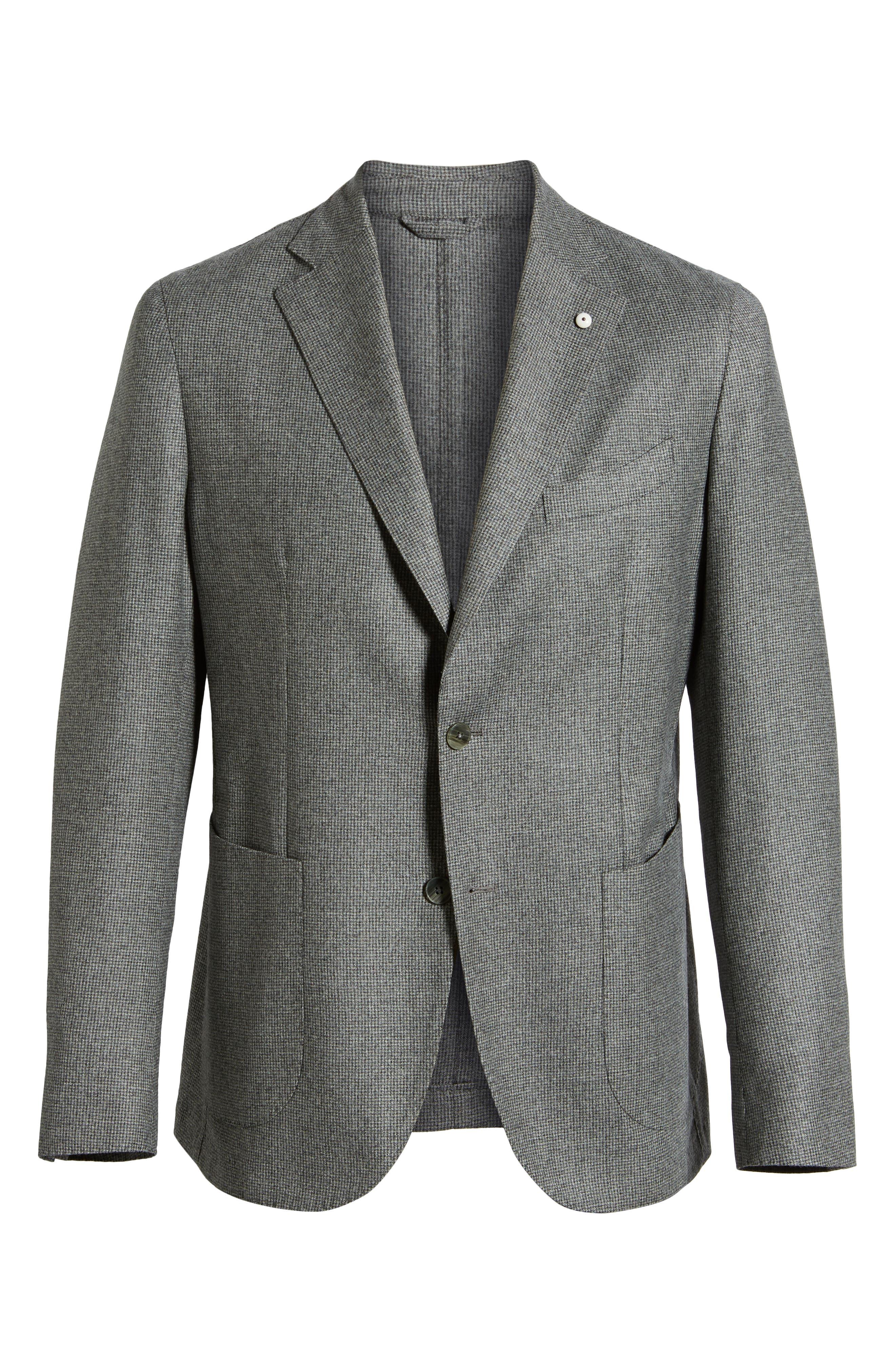 L.B.M. 1911, L.B.M 1911 Classic Fit Check Wool Sport Coat, Alternate thumbnail 5, color, GREY