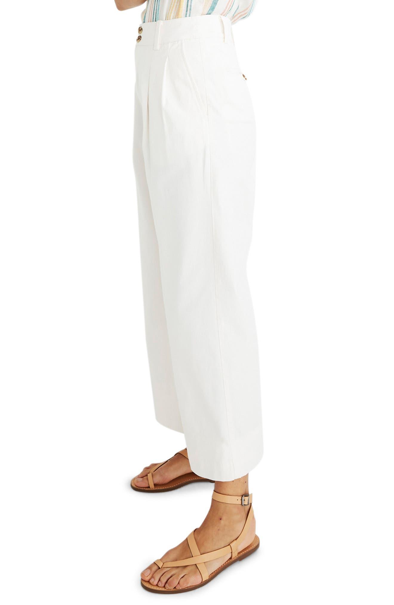MADEWELL, High Waist Crop Wide Leg Pants, Alternate thumbnail 4, color, LIGHTHOUSE