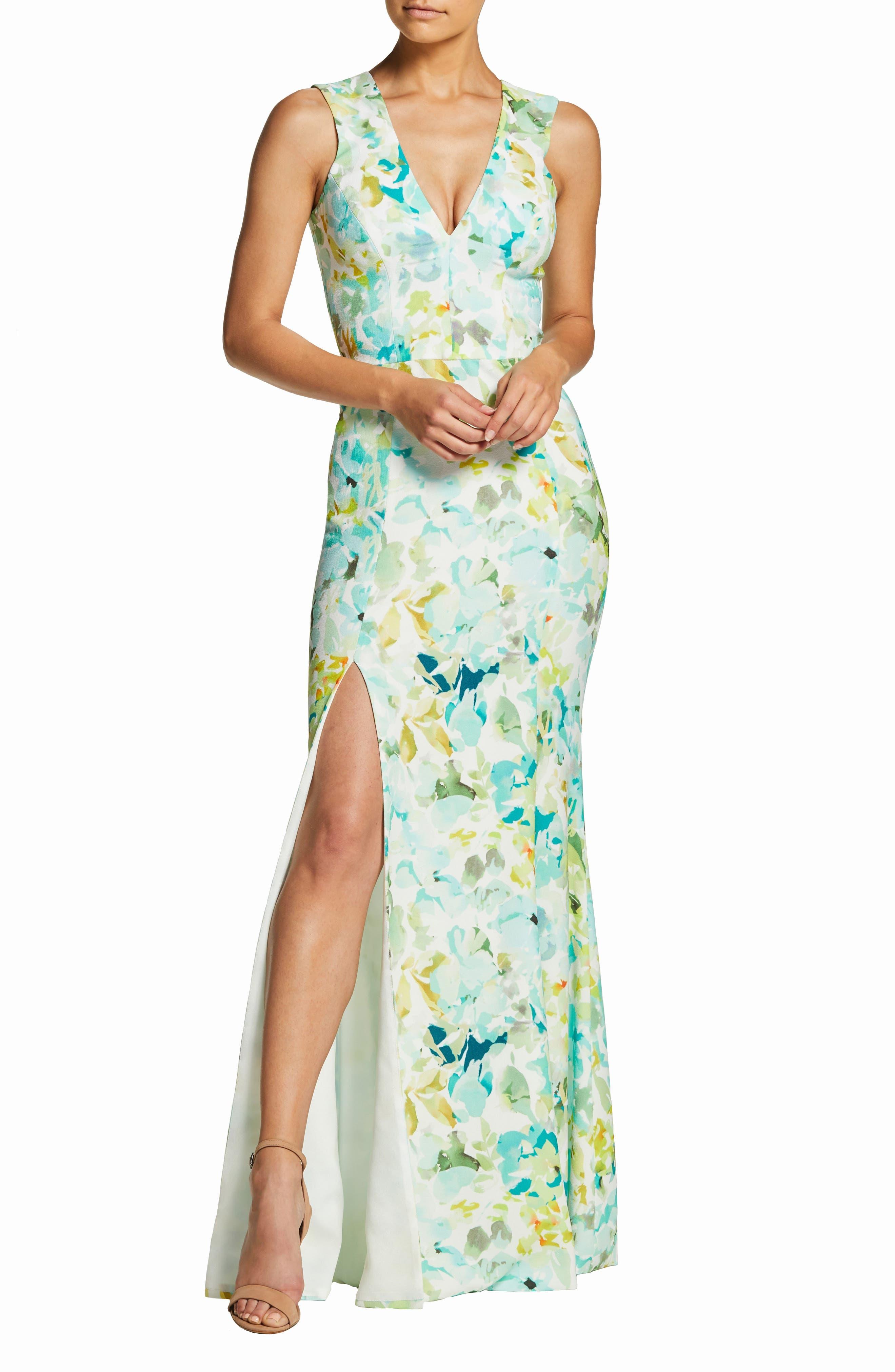 Dress The Population Sandra Watercolor Plunge Crepe Trumpet Evening Dress, Blue/green