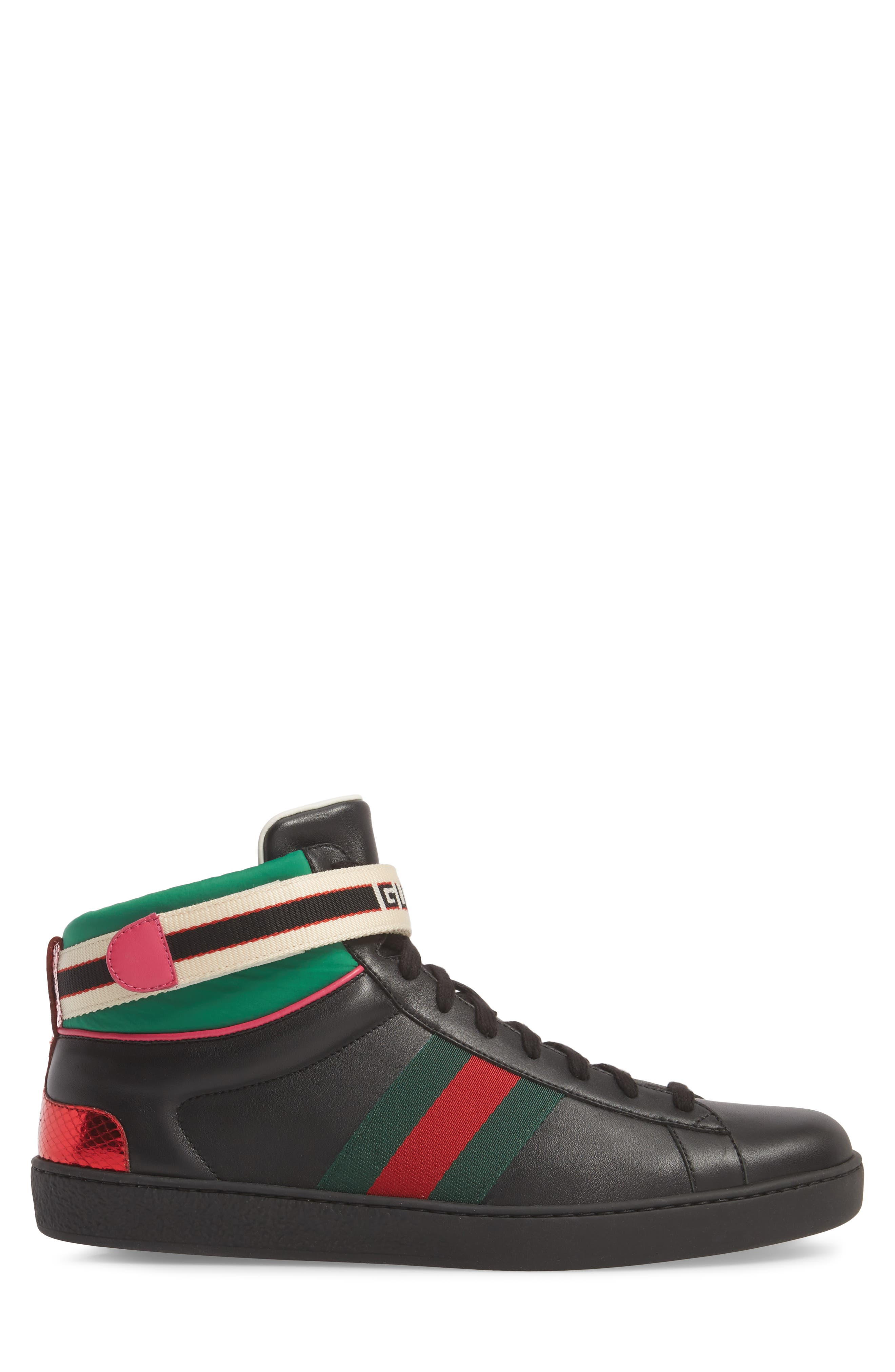 GUCCI, New Ace Stripe High Top Sneaker, Alternate thumbnail 3, color, BLACK