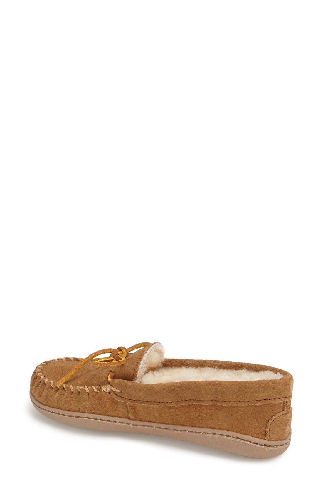 MINNETONKA, Sheepskin Hard Sole Moccasin Slipper, Alternate thumbnail 6, color, TAN SUEDE