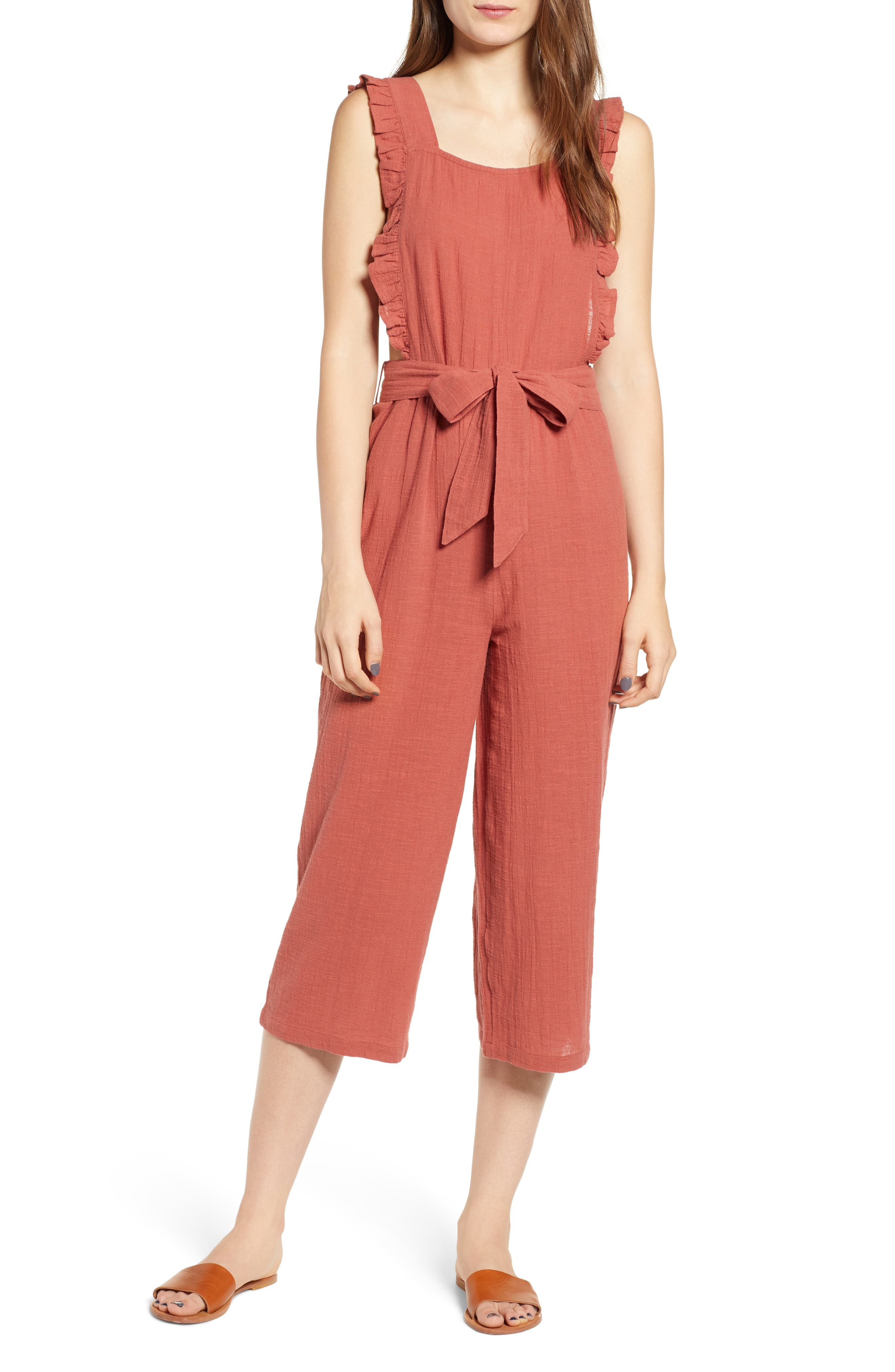 TOPSHOP, Frill Crop Jumpsuit, Main thumbnail 1, color, 220