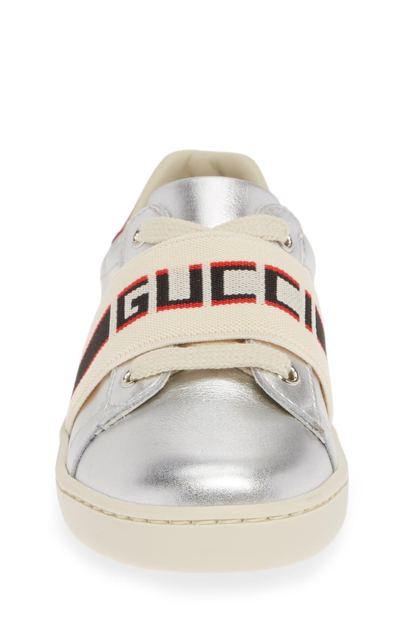 GUCCI, New Ace Stripe Sneaker, Alternate thumbnail 4, color, SILVER