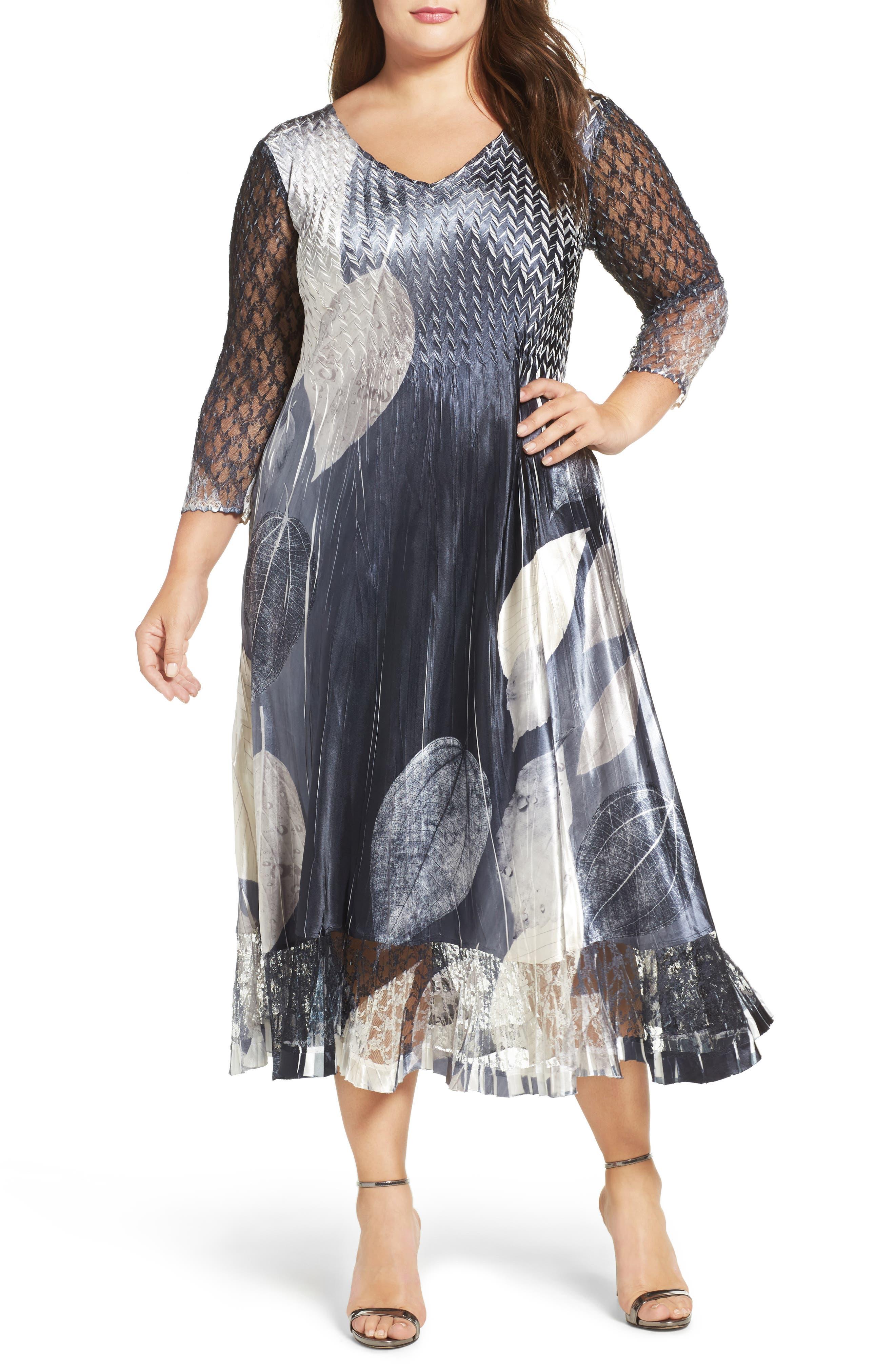 KOMAROV, Mixed Media Midi Dress, Main thumbnail 1, color, BLACK MONEY LEAVES