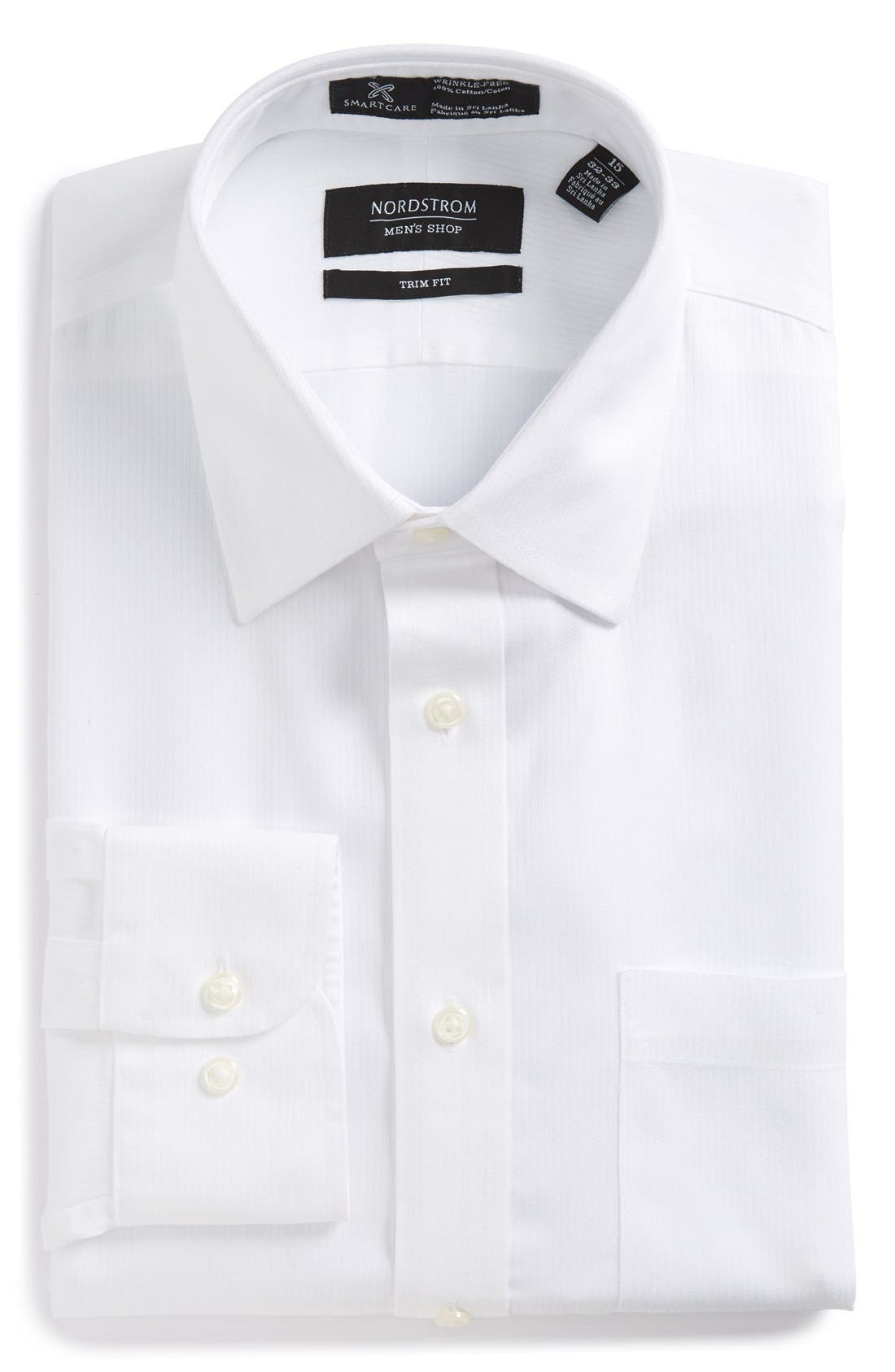 NORDSTROM MEN'S SHOP, Smartcare<sup>™</sup> Trim Fit Dress Shirt, Alternate thumbnail 5, color, WHITE