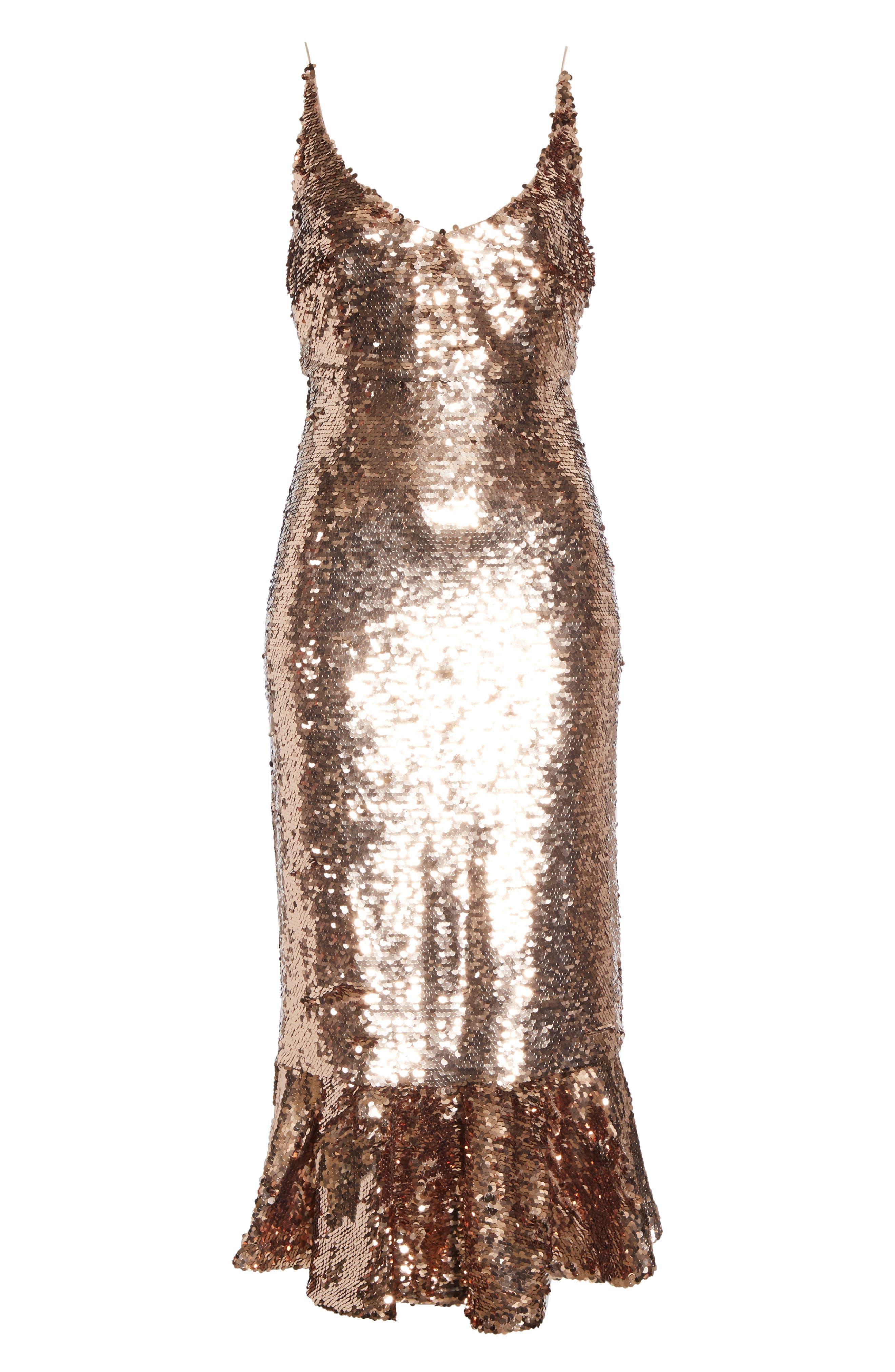 SALONI, Aidan Sequin Ruffle Hem Midi Dress, Alternate thumbnail 7, color, BRONZE