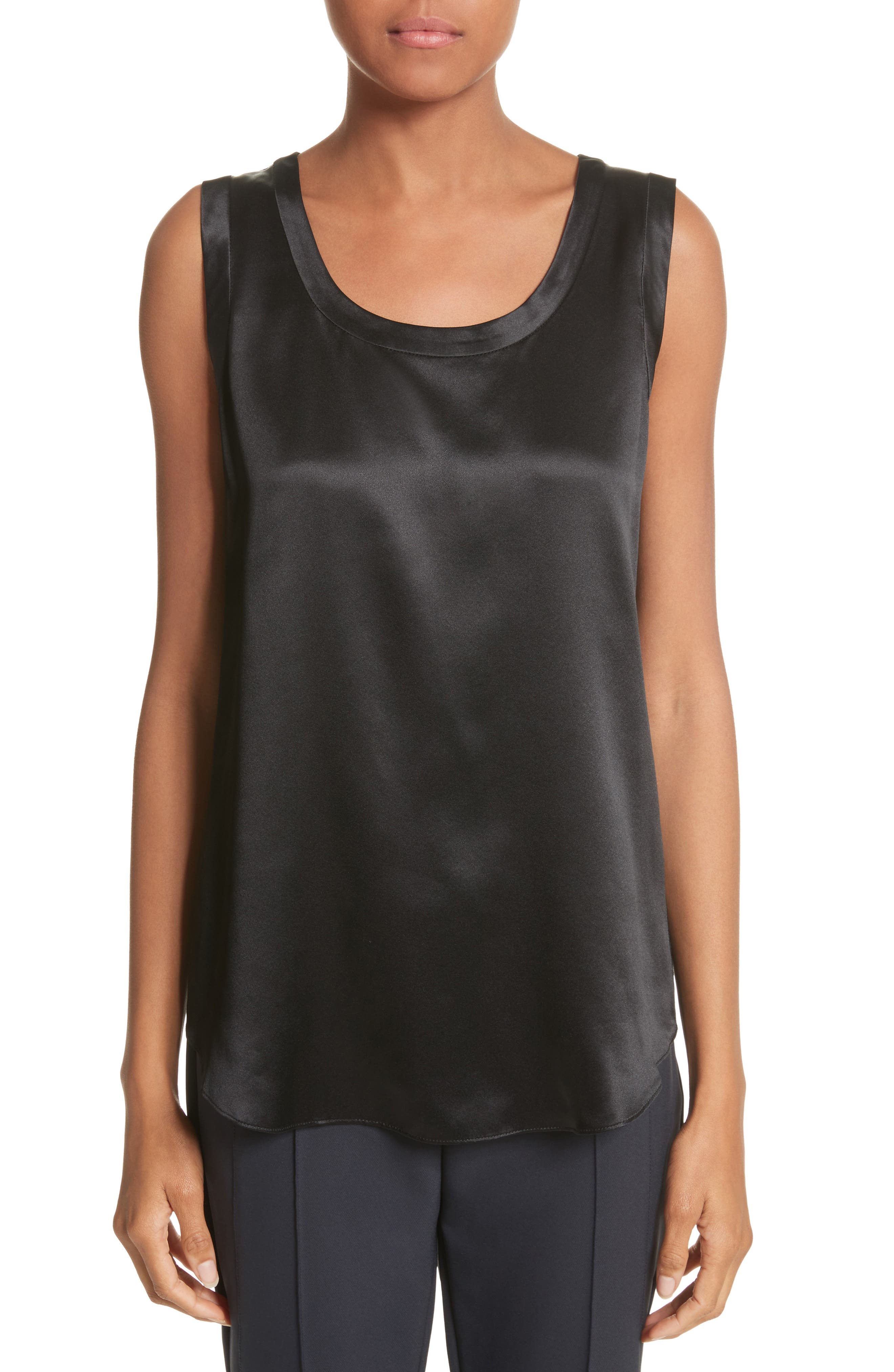 LAFAYETTE 148 NEW YORK, Perla Reversible Silk Blouse, Main thumbnail 1, color, BLACK