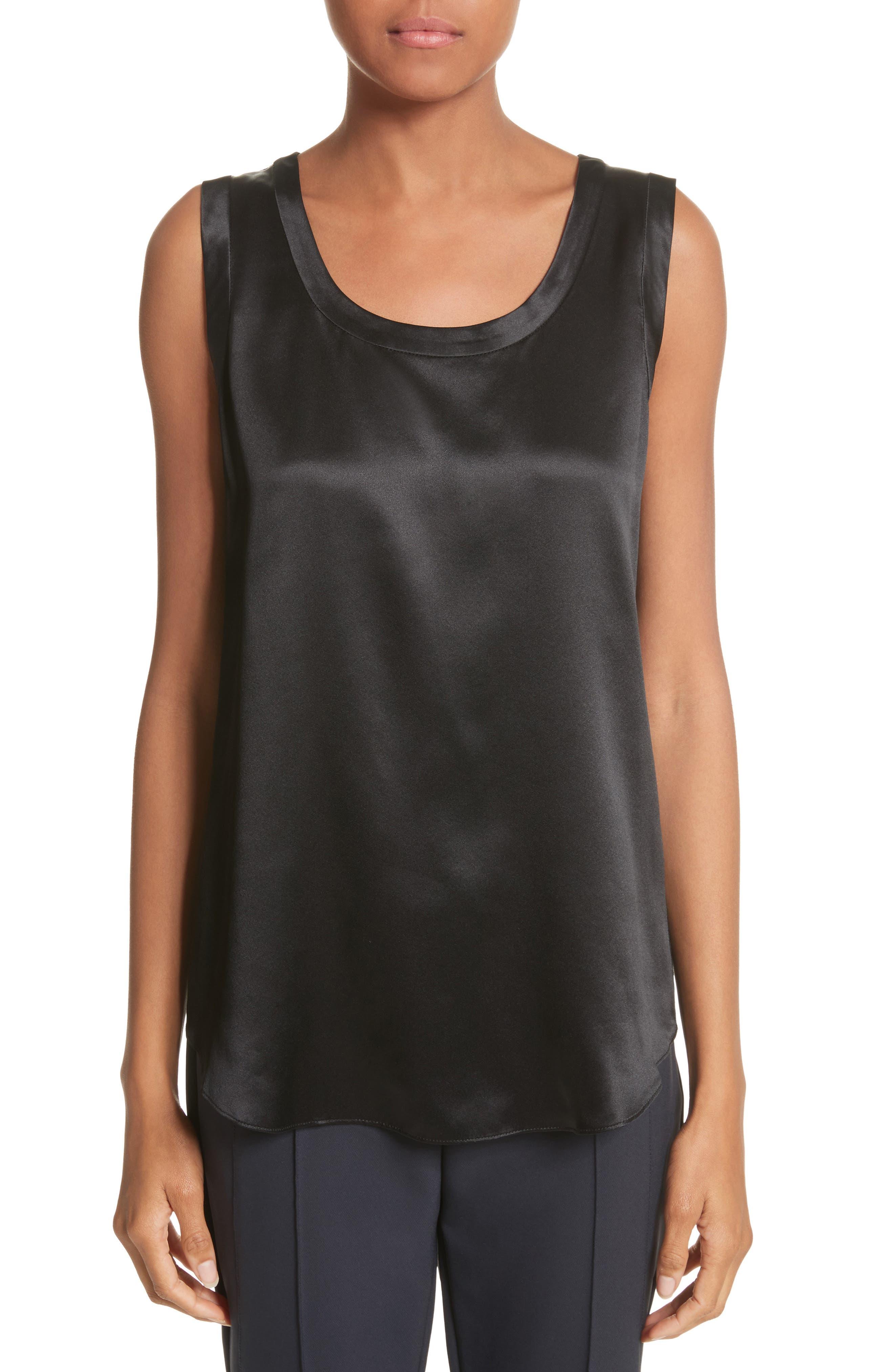 LAFAYETTE 148 NEW YORK Perla Reversible Silk Blouse, Main, color, BLACK