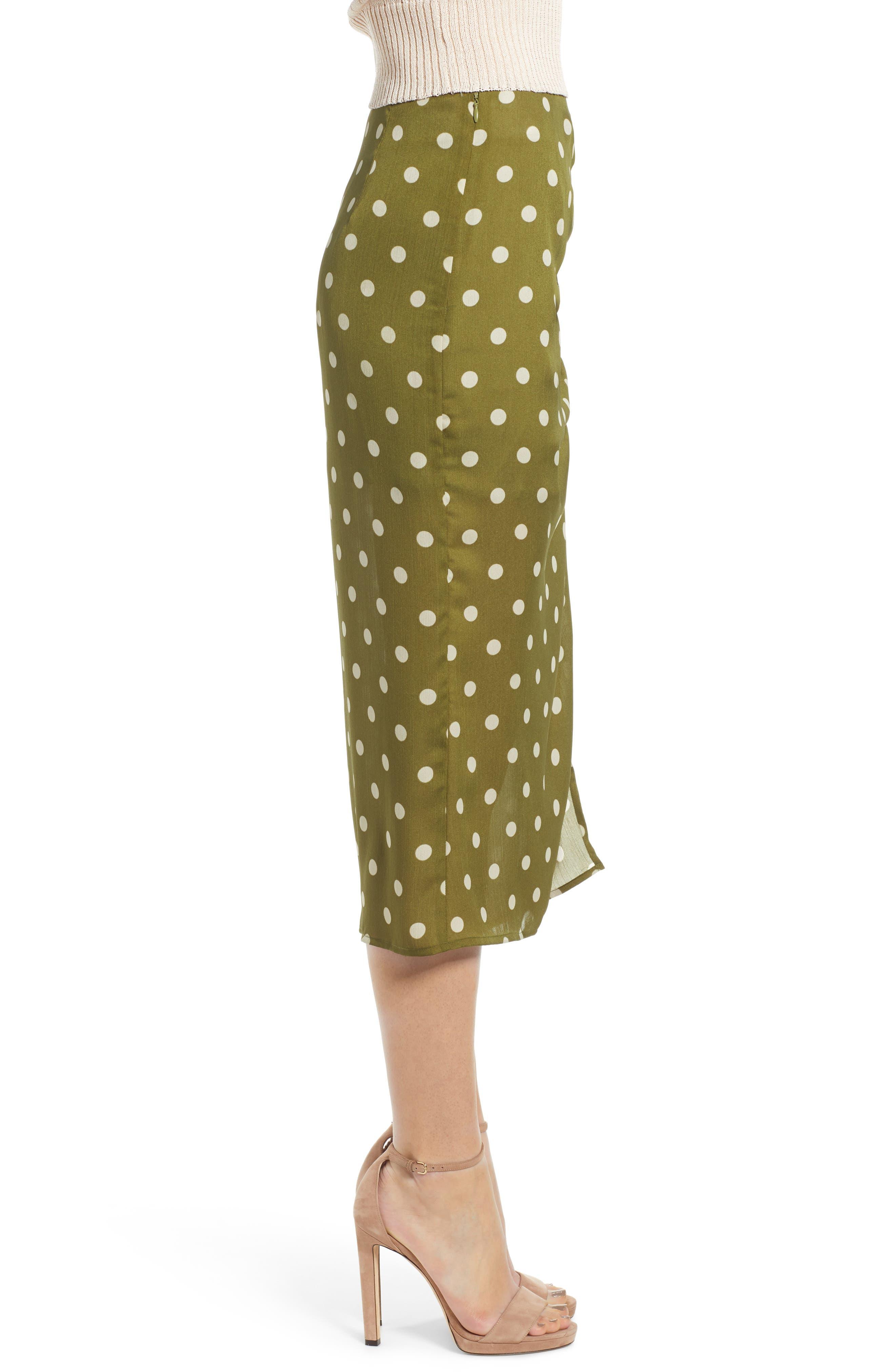 CHRISELLE LIM COLLECTION, Chriselle Lim Ren Ruched Skirt, Alternate thumbnail 3, color, CREAM/ OLIVE