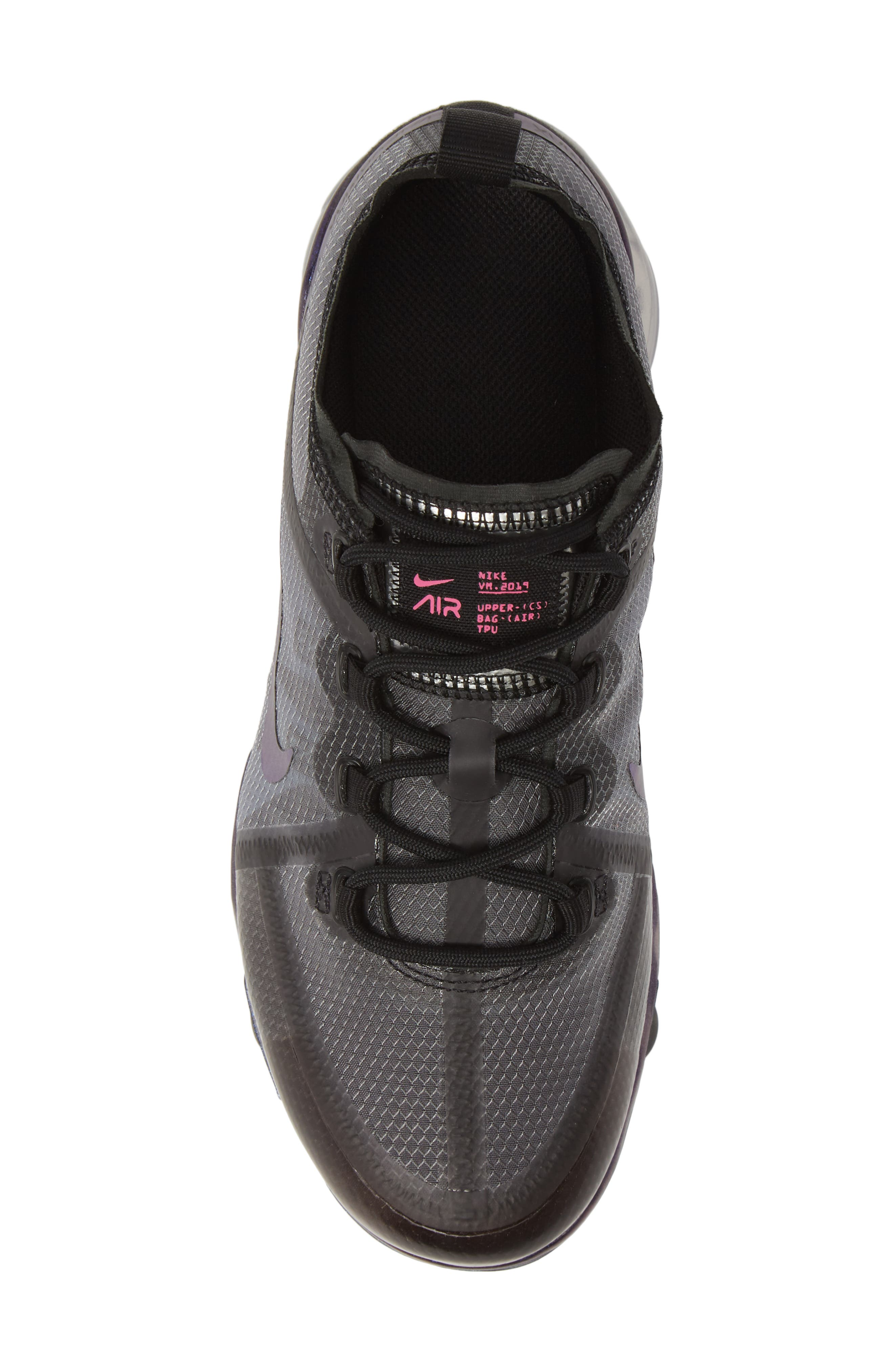 NIKE, Air VaporMax 2019 Running Shoe, Alternate thumbnail 5, color, BLACK/ FUCHSIA-ANTHRACITE