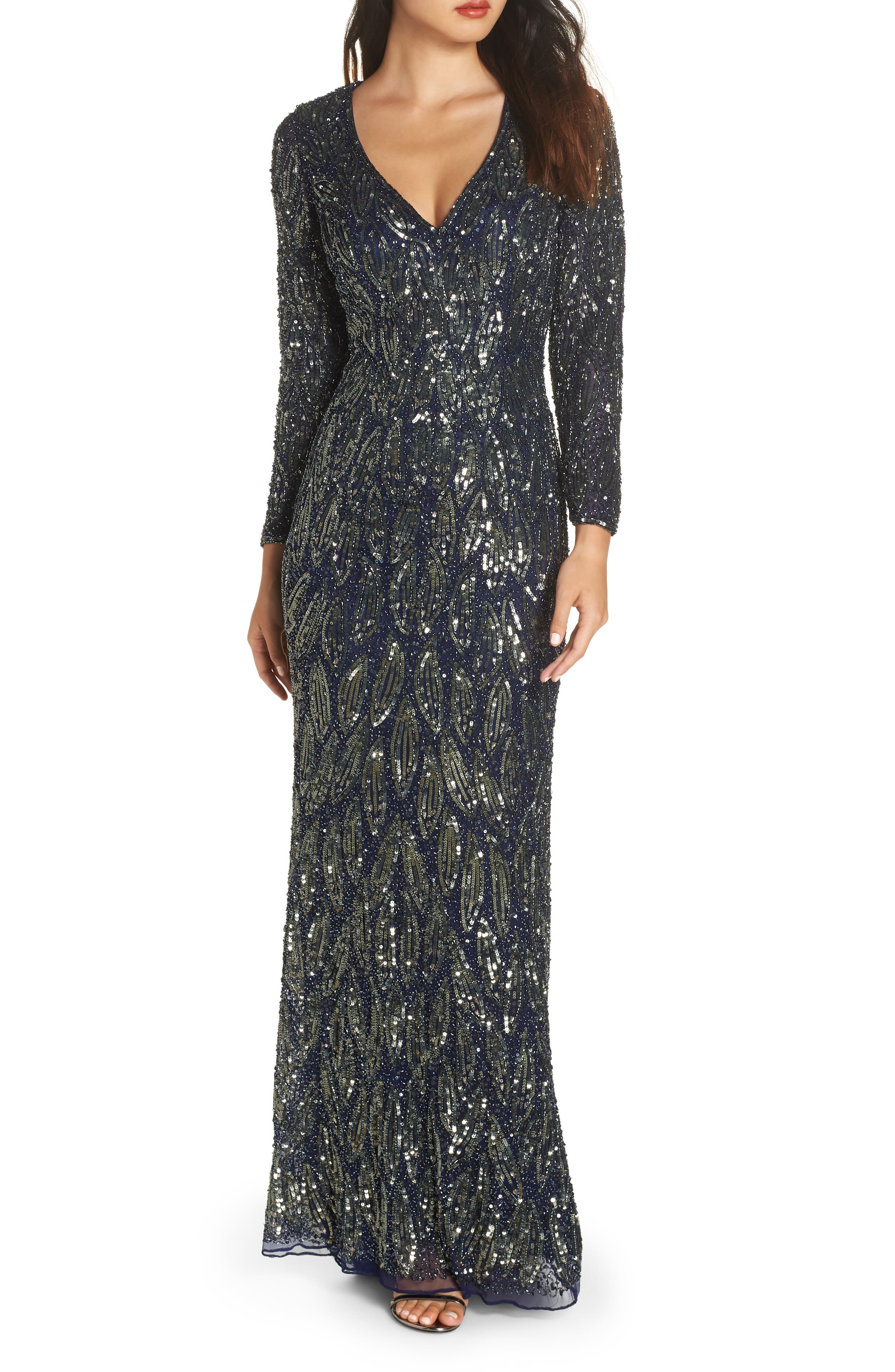 MAC DUGGAL Beaded Long Sleeve Gown, Main, color, MIDNIGHT