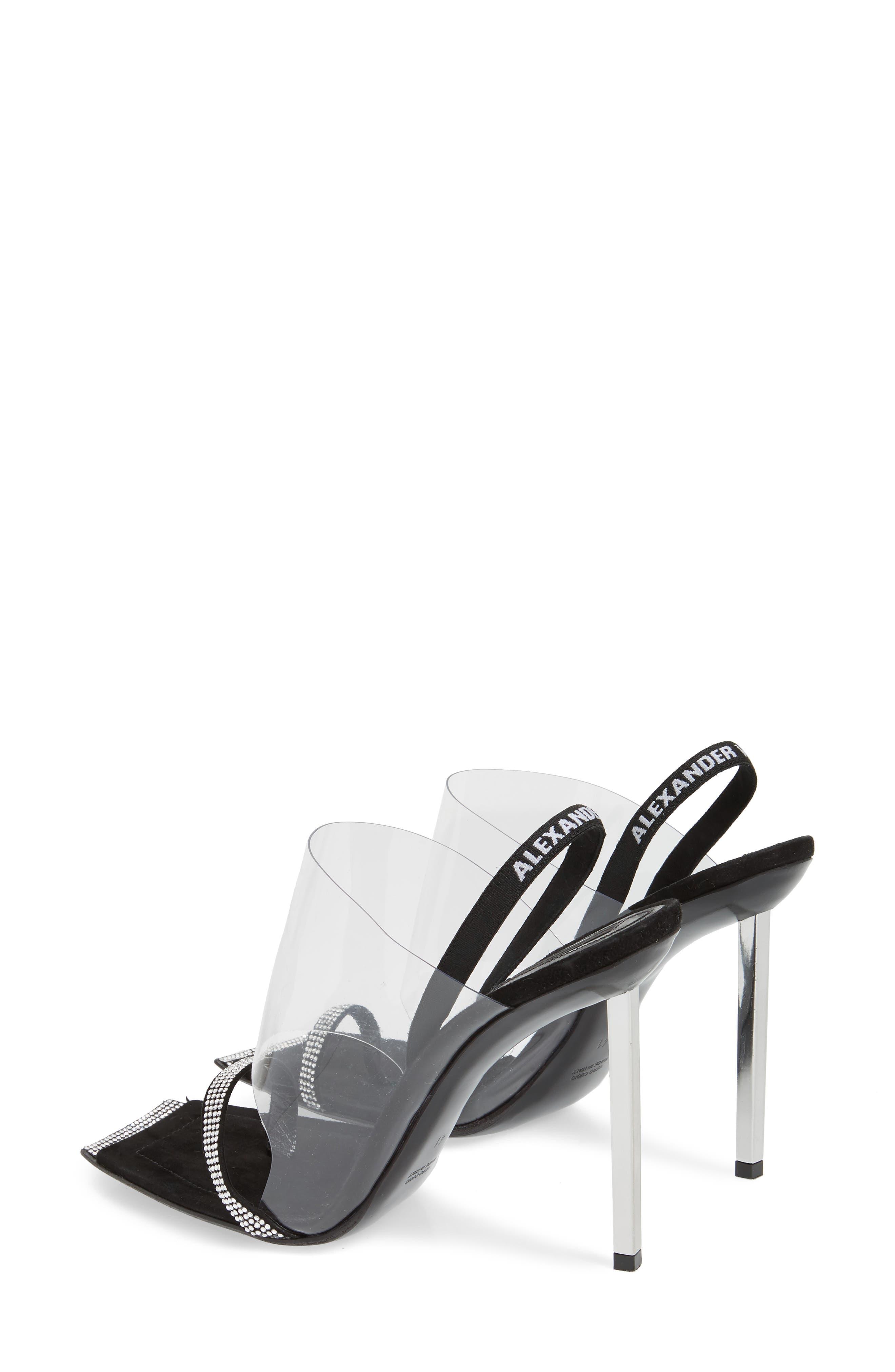 ALEXANDER WANG, Clear Shield Sandal, Alternate thumbnail 3, color, BLACK
