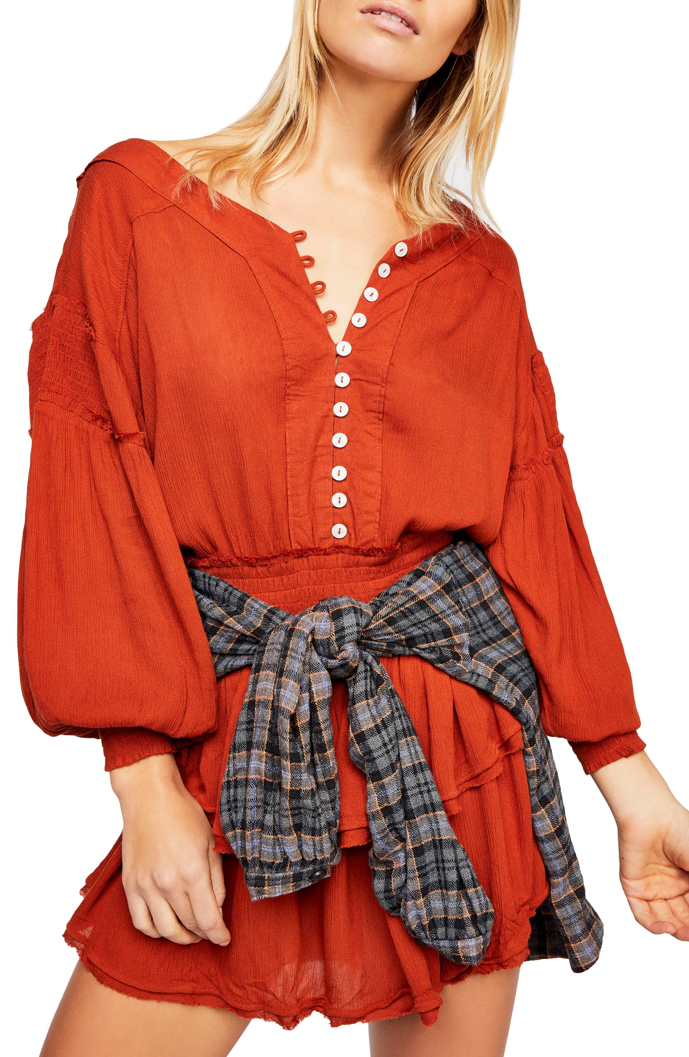 FREE PEOPLE, Endless Summer by Free People The Romy Minidress, Main thumbnail 1, color, COPPER
