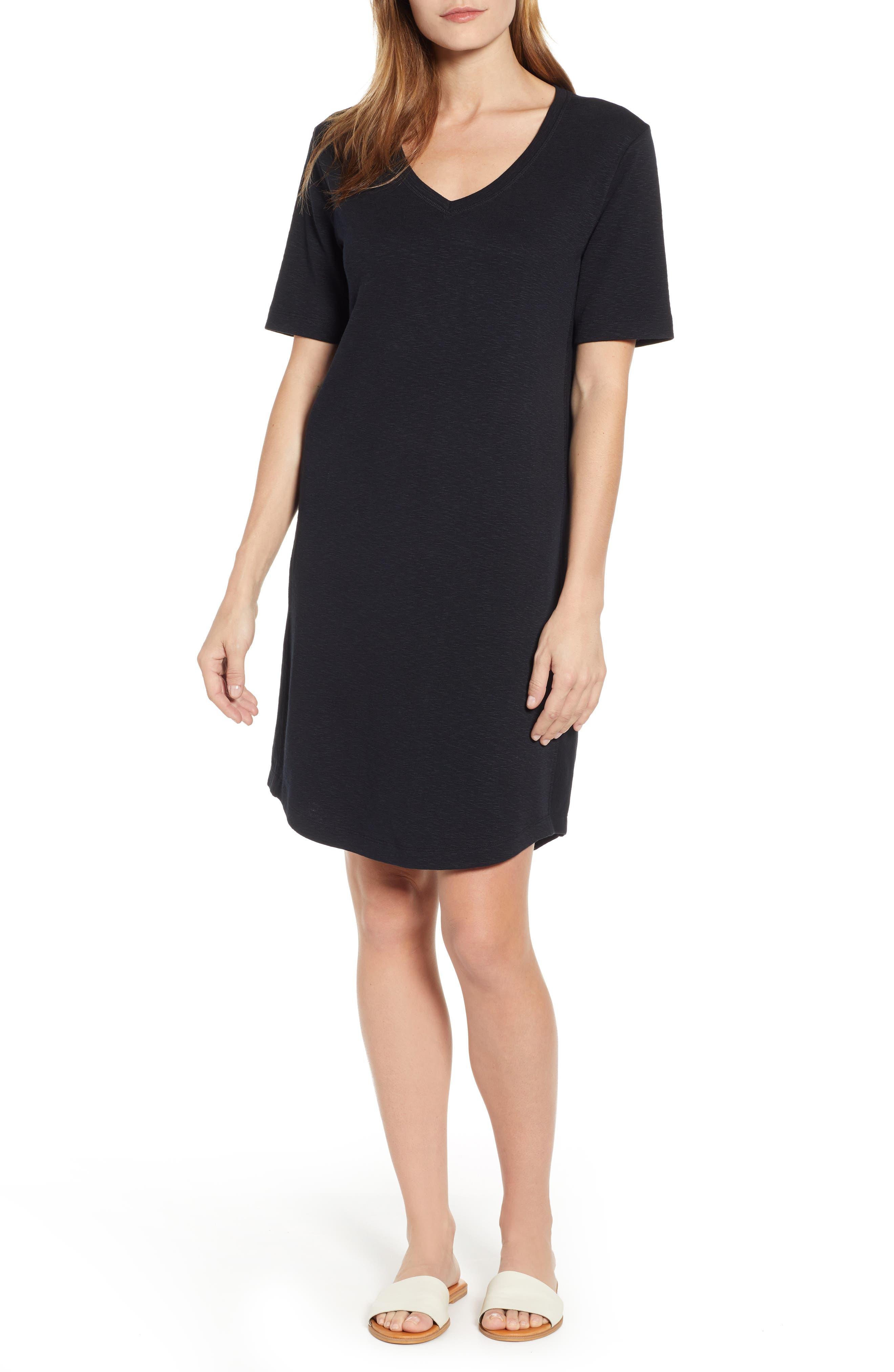 CASLON<SUP>®</SUP> Slub Knit Dress, Main, color, BLACK