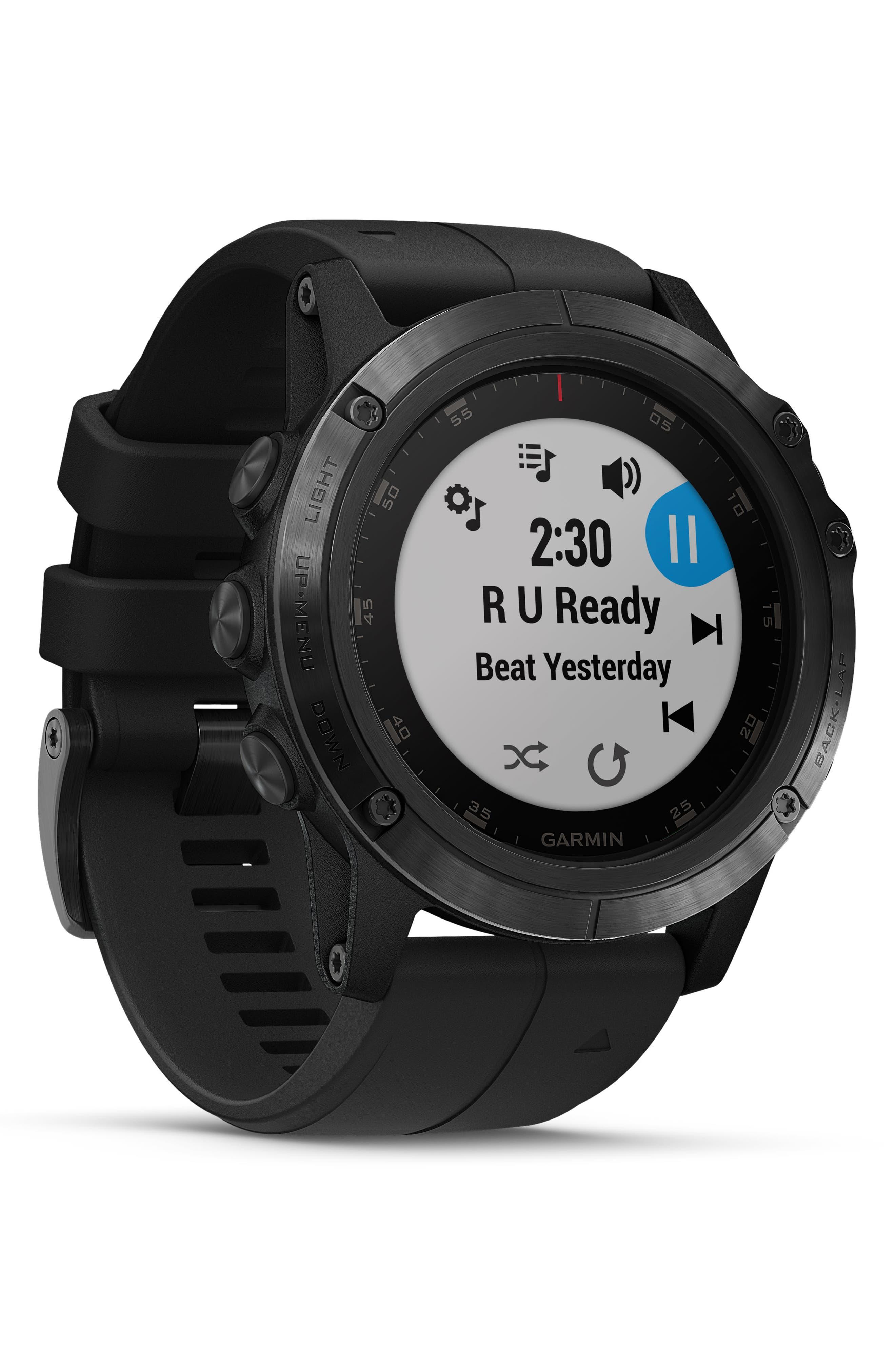 GARMIN, fenix<sup>®</sup> 5S Sapphire Premium Multisport GPS Watch, 51mm, Alternate thumbnail 6, color, BLACK