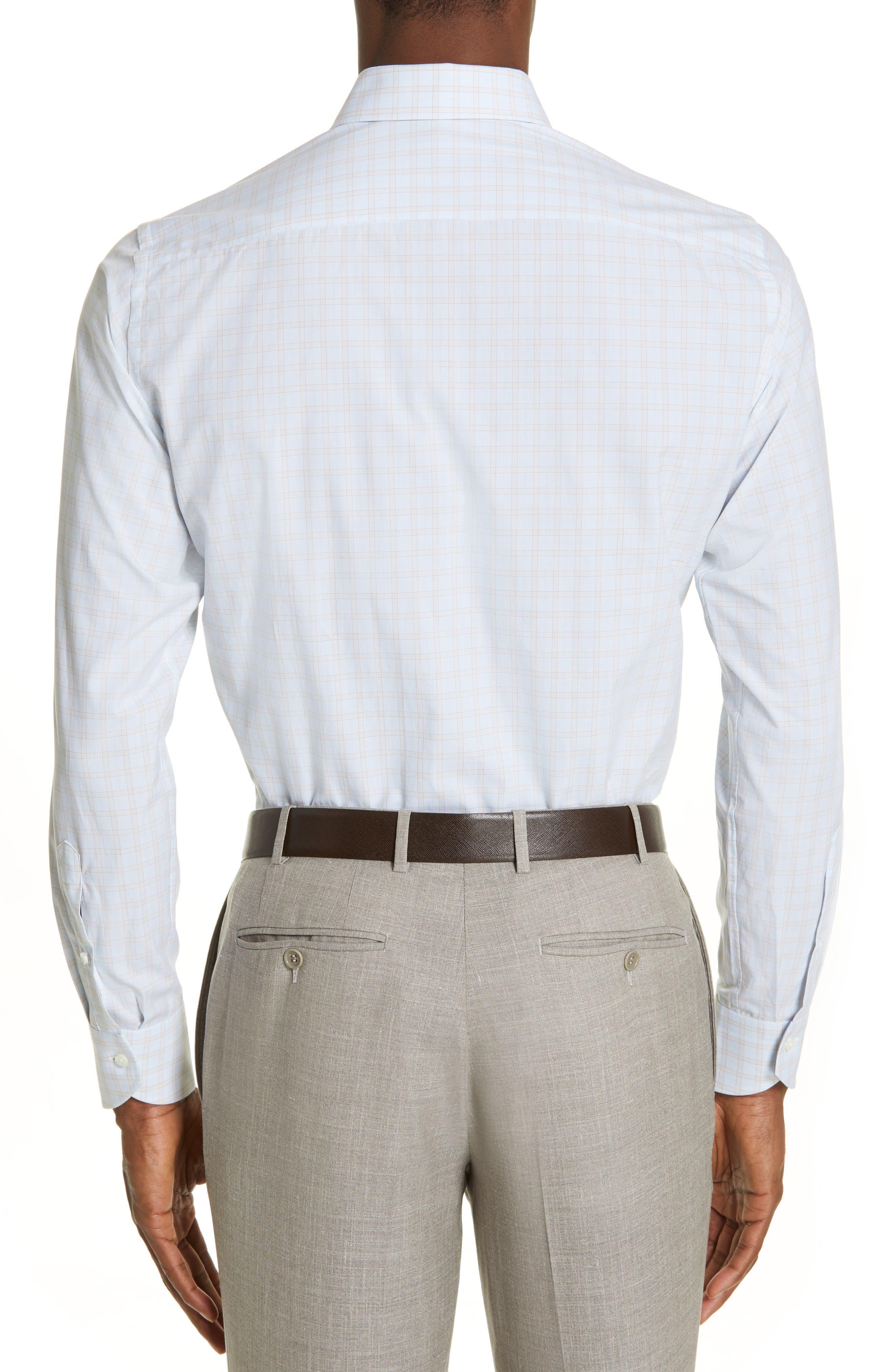 CANALI, Regular Fit Plaid Dress Shirt, Alternate thumbnail 3, color, BEIGE
