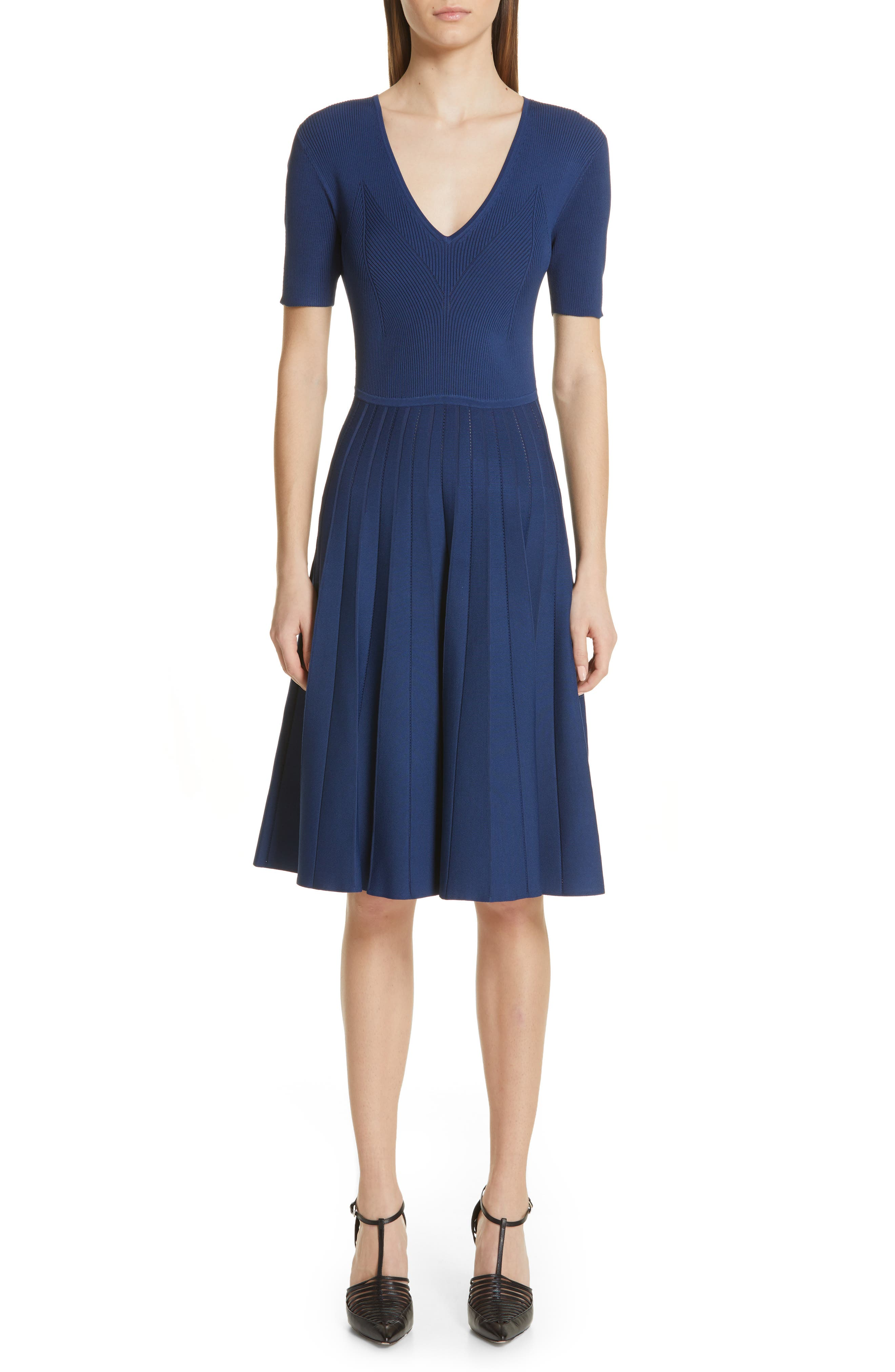 Jason Wu Collection Knit Fit & Flare Dress, Blue