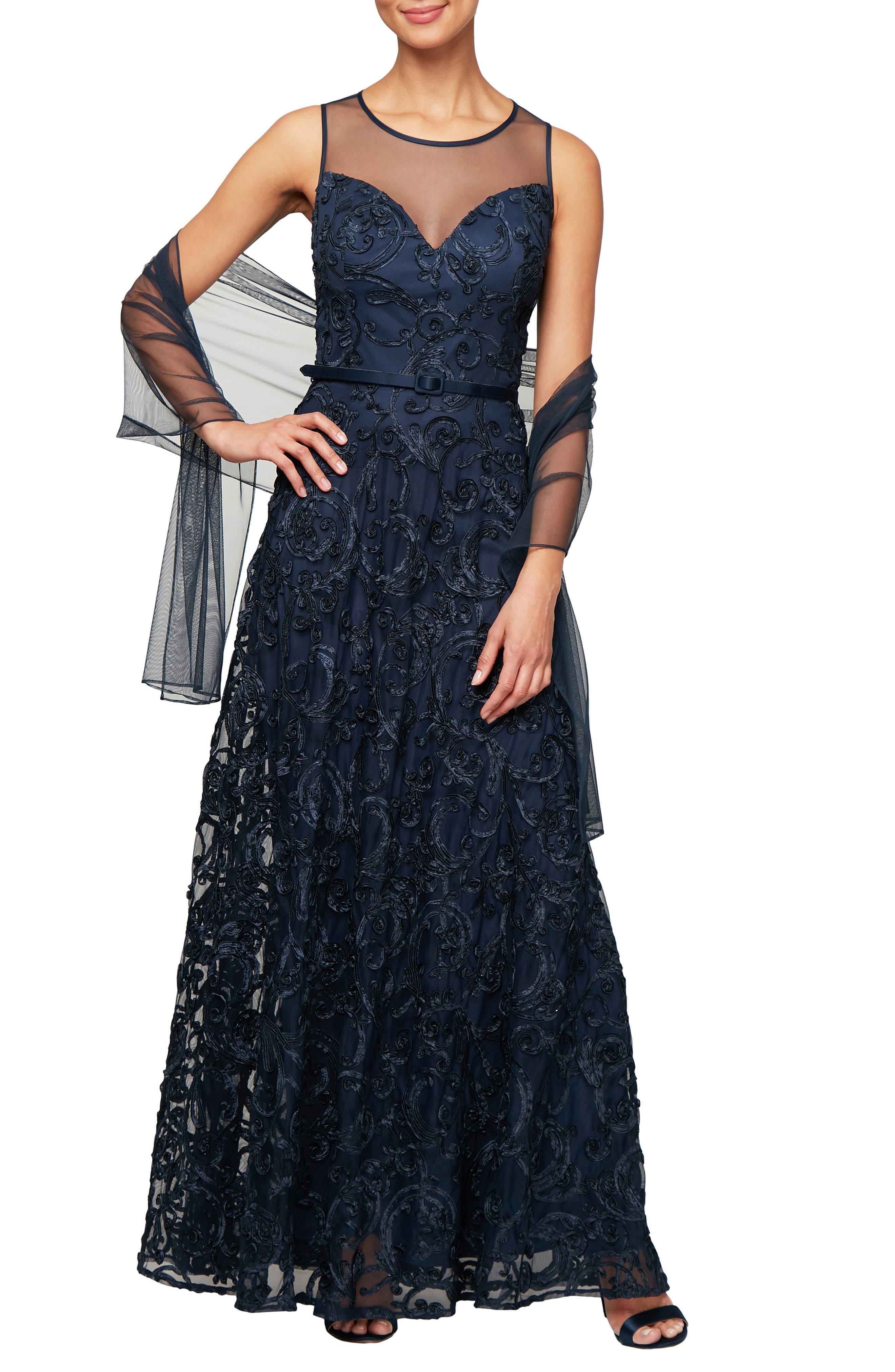 Petite Alex Evenings Illusion Neck Soutache Evening Dress With Wrap, Blue