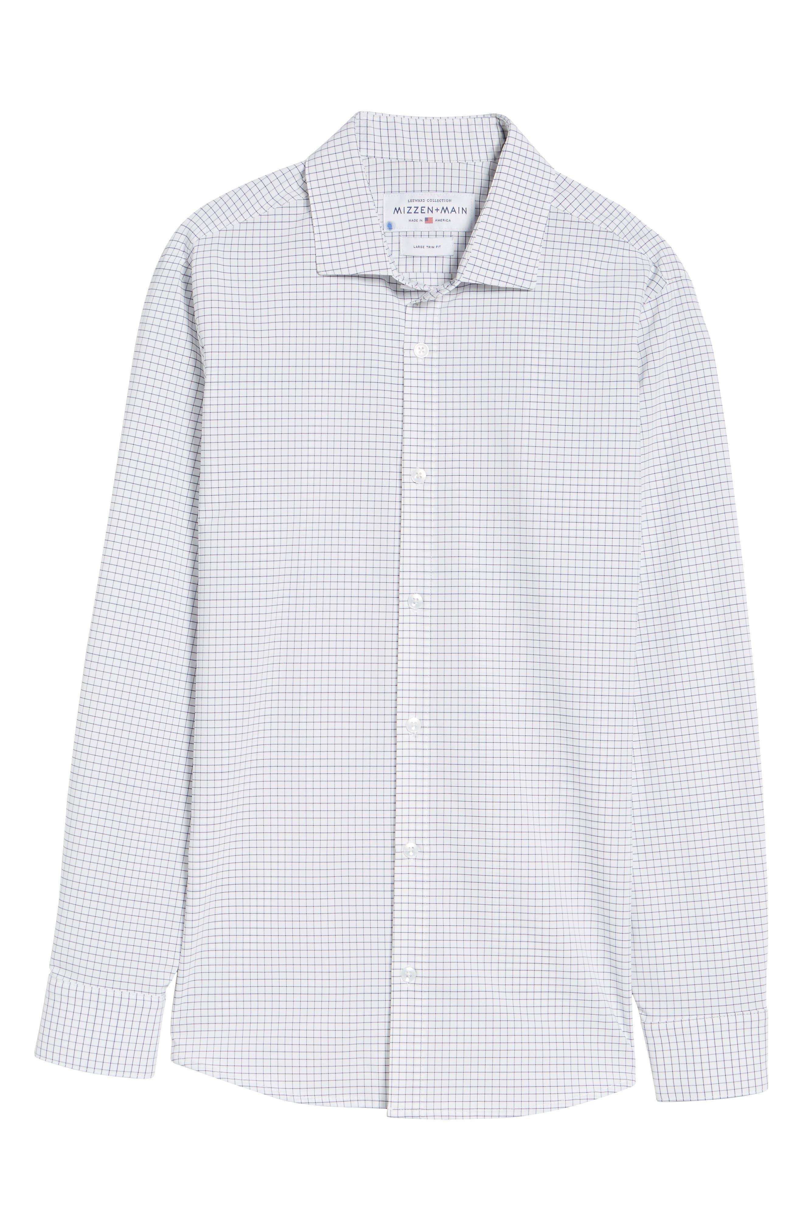MIZZEN+MAIN, Kennedy Trim Fit Windowpane Sport Shirt, Alternate thumbnail 6, color, WHITE