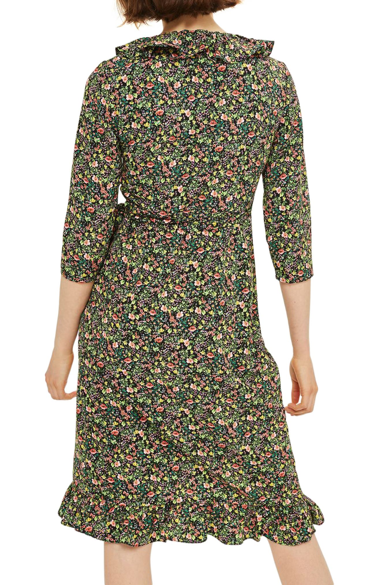 TOPSHOP, Flower Garden Ruffle Wrap Dress, Alternate thumbnail 2, color, 001