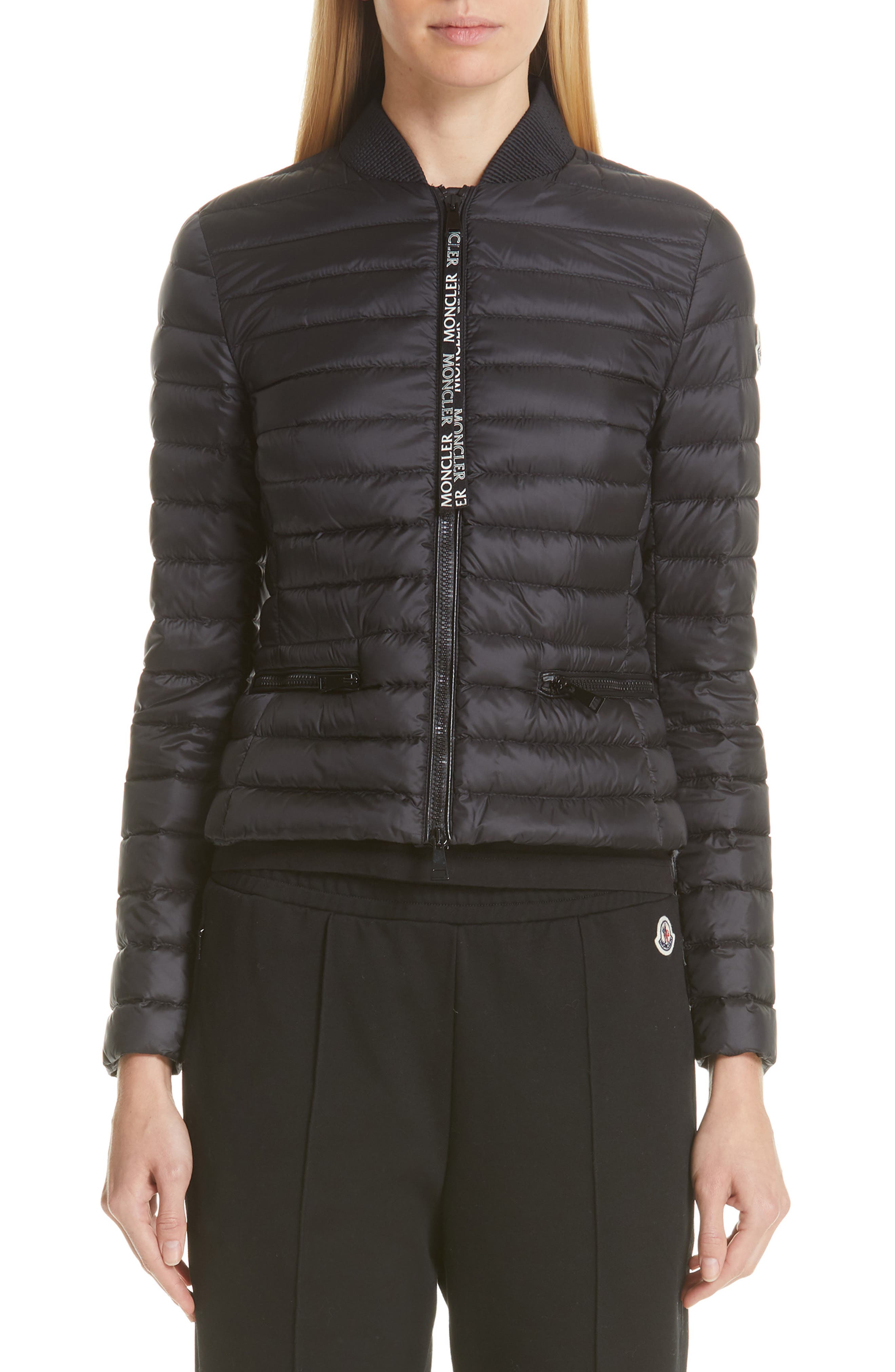 MONCLER, Blenca Quilted Down Jacket, Main thumbnail 1, color, BLACK