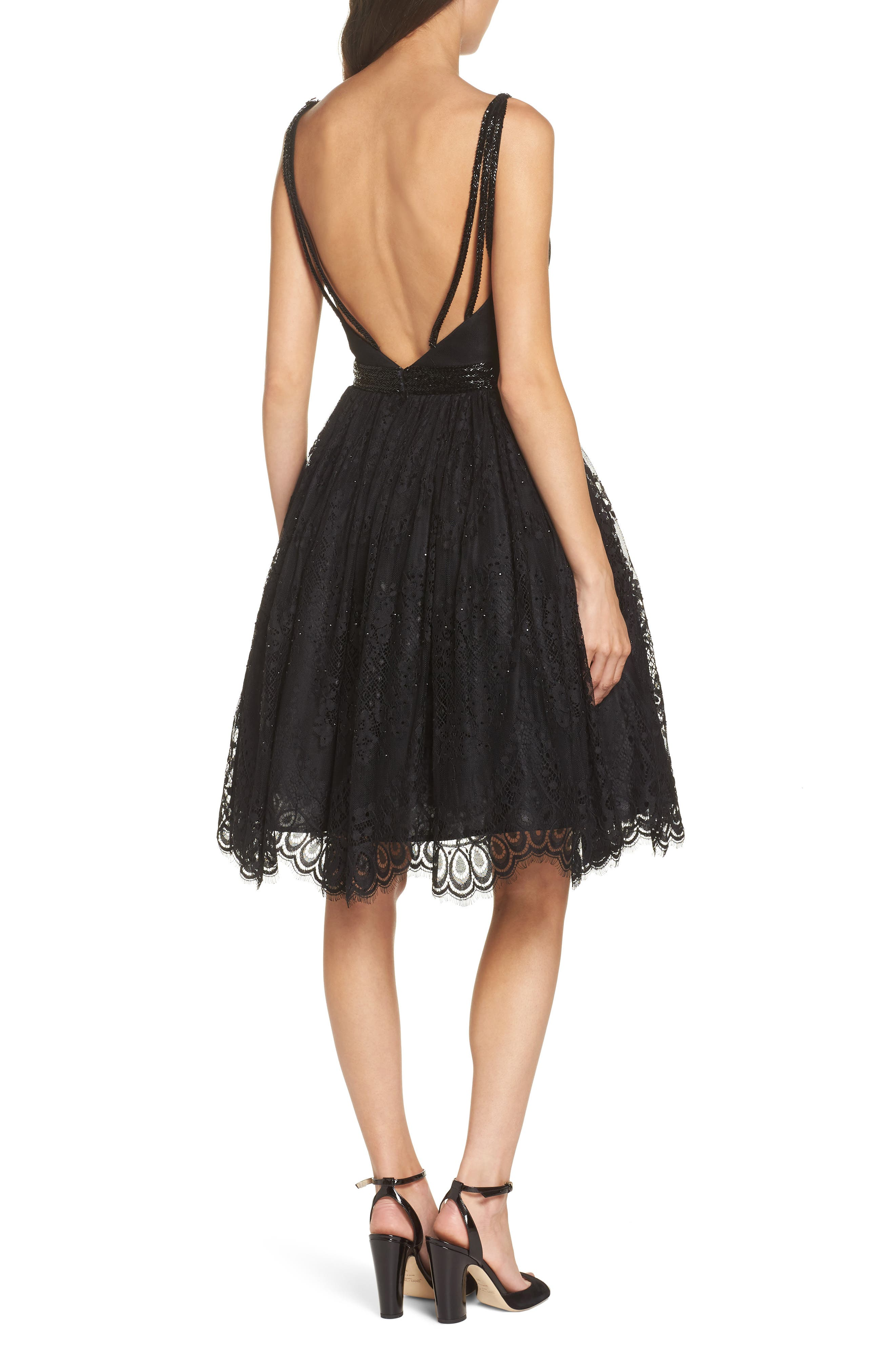 MAC DUGGAL, Sweetheart Neck Lace Party Dress, Alternate thumbnail 2, color, BLACK