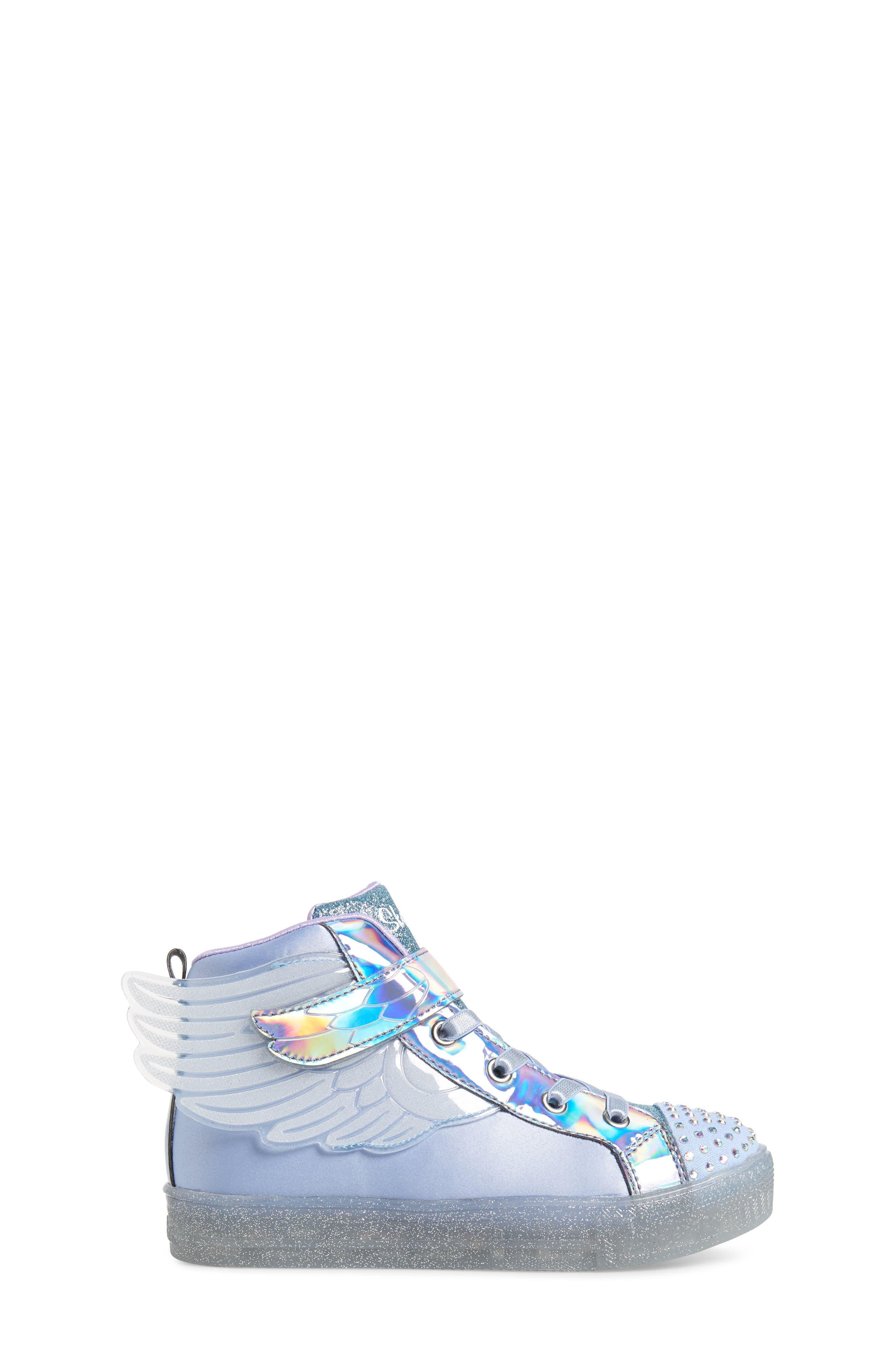 SKECHERS, Twinkle Toes Light-Up Sneaker, Alternate thumbnail 3, color, PERIWINKLE