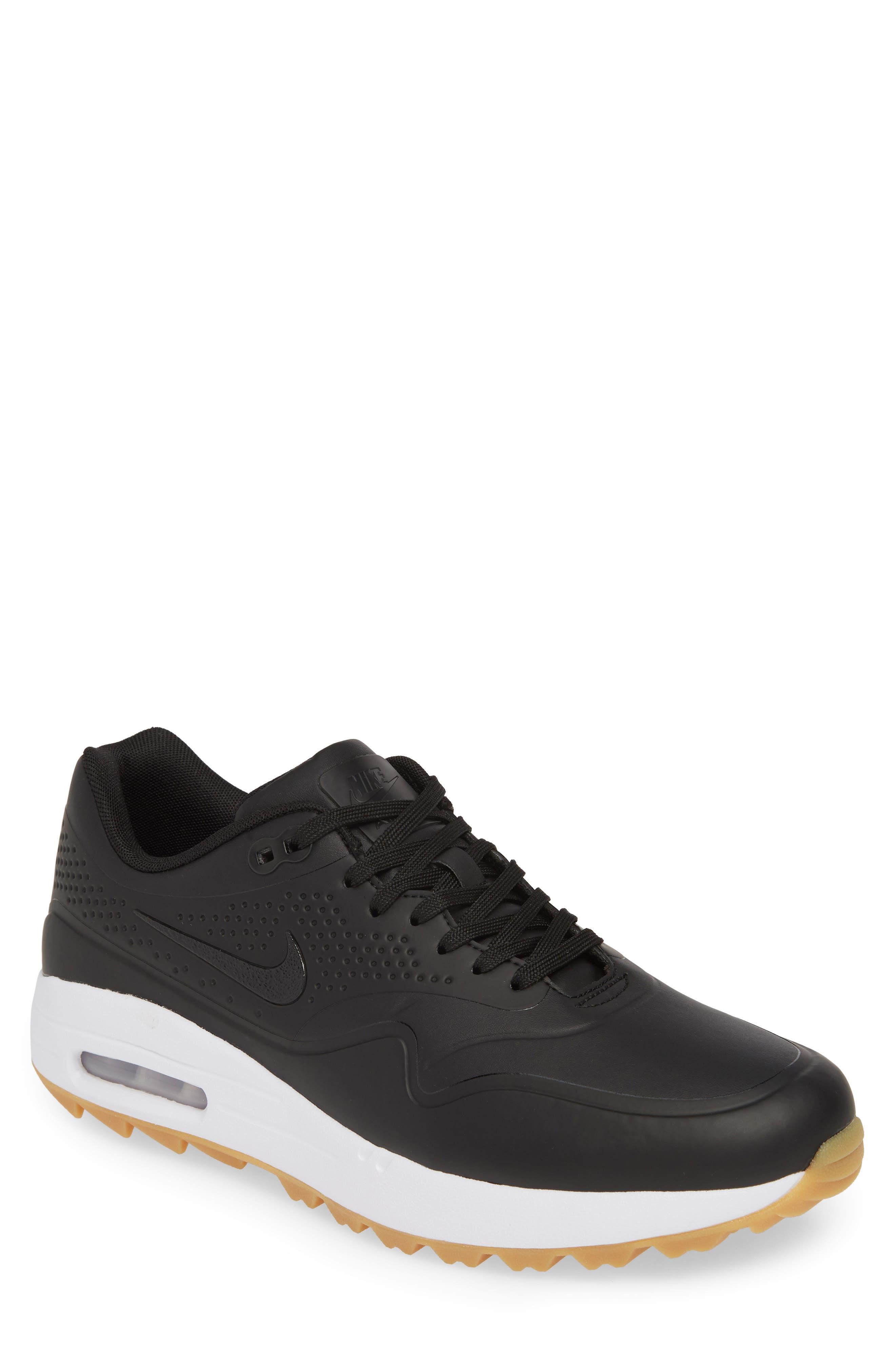 NIKE, Air Max 1 Golf Sneaker, Main thumbnail 1, color, BLACK/ GUM LIGHT BROWN