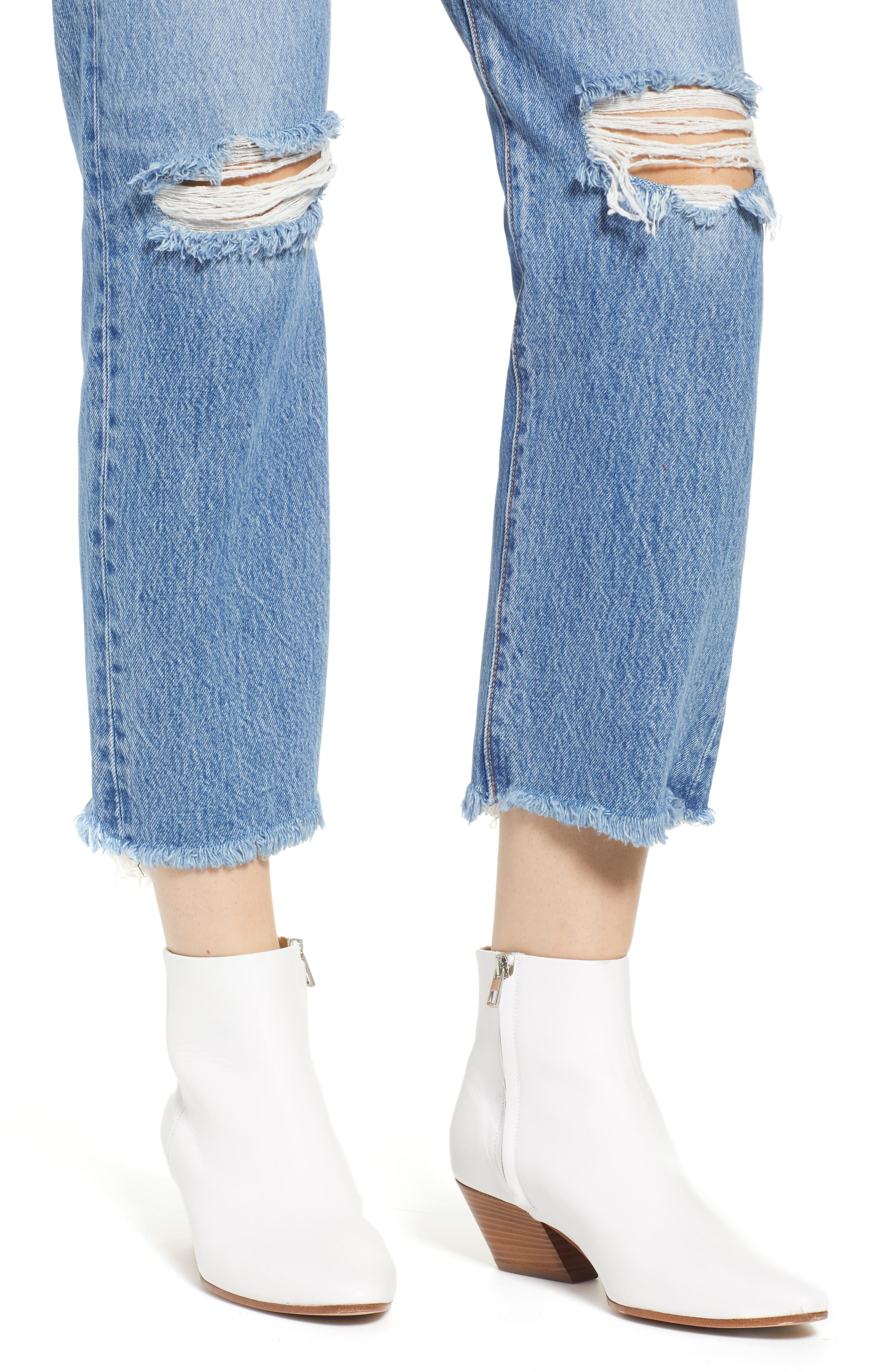 LEVI'S<SUP>®</SUP>, Wedgie High Waist Ripped Crop Straight Leg Jeans, Alternate thumbnail 5, color, UNCOVERED TRUTH