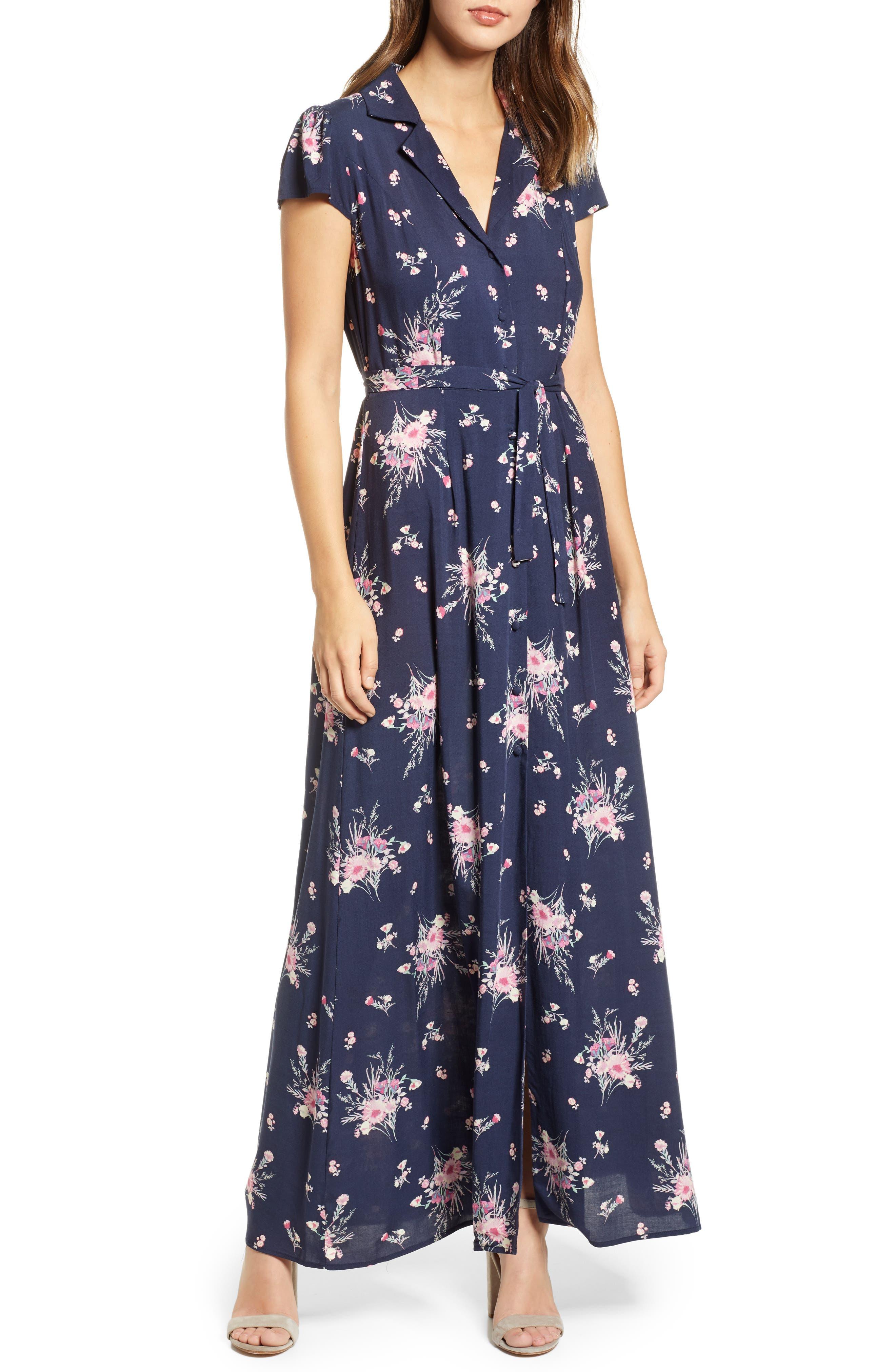 ROW A, Floral Print Maxi Dress, Main thumbnail 1, color, NAVY FLORAL