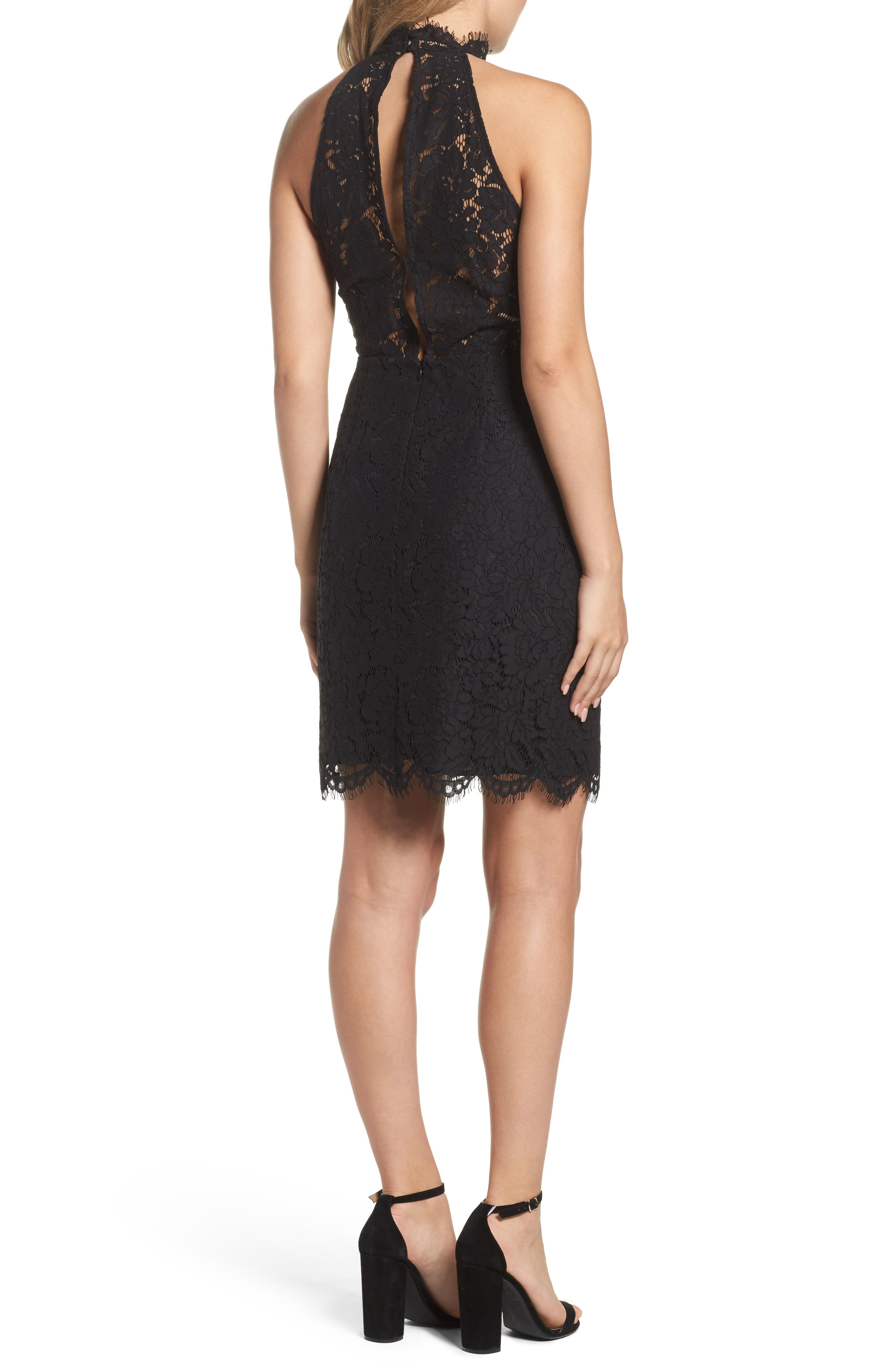 BB DAKOTA, Cara High Neck Lace Cocktail Dress, Alternate thumbnail 2, color, 001