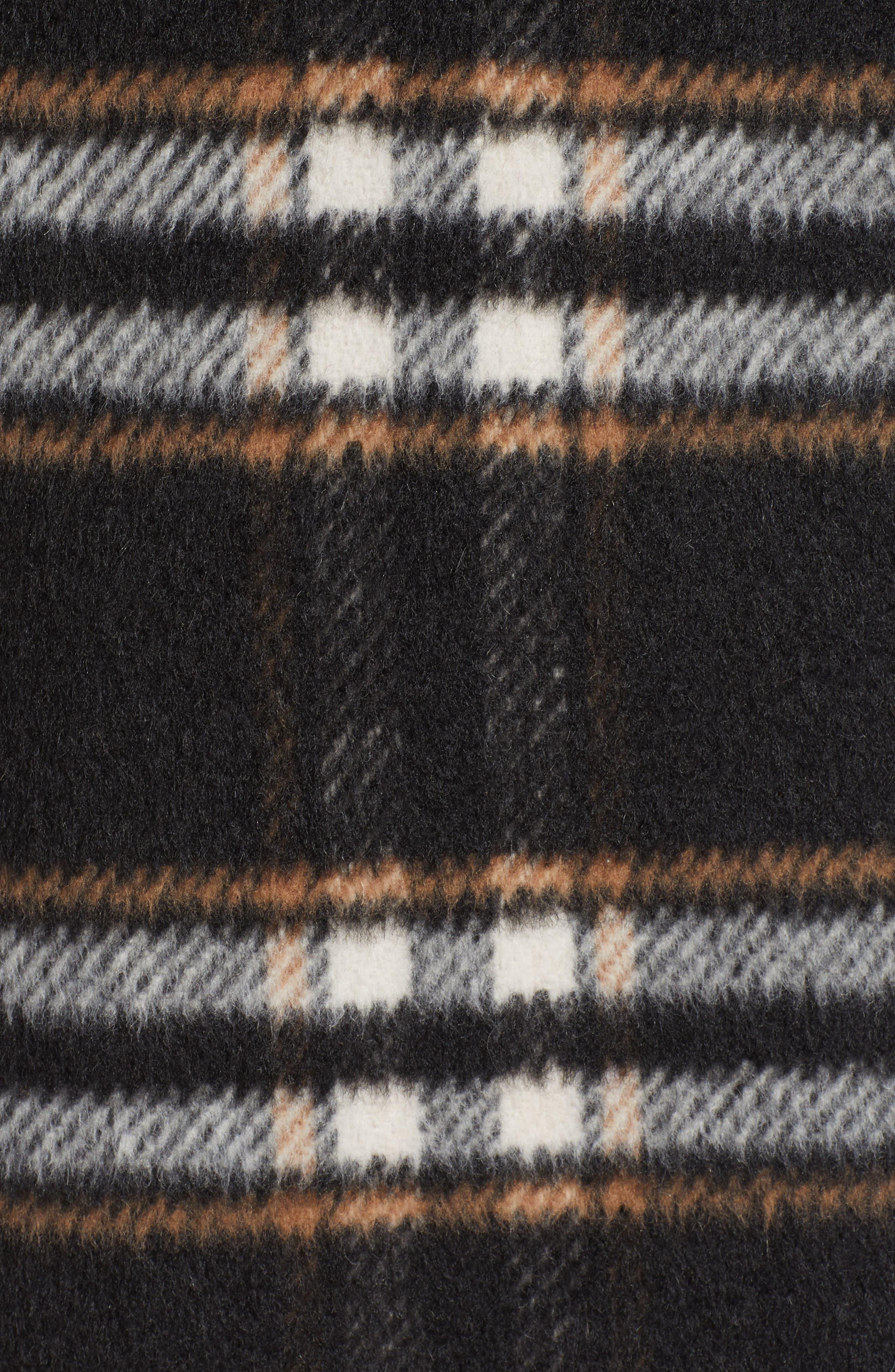 SOMETHING NAVY, Longline Plaid Coat, Alternate thumbnail 7, color, BLACK PLAID