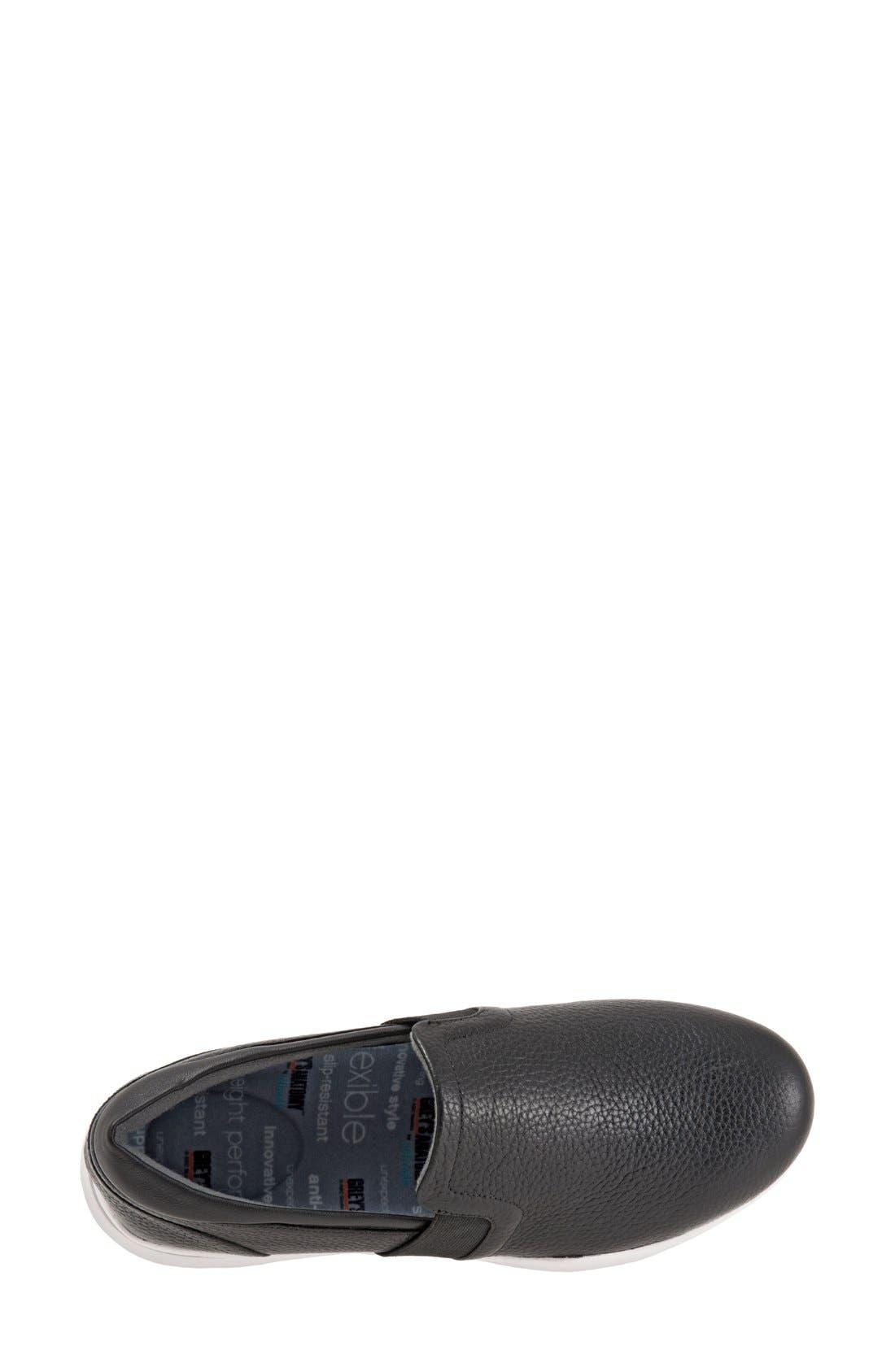 SOFTWALK<SUP>®</SUP>, 'Vantage' Slip-On Sneaker, Alternate thumbnail 3, color, BLACK / WHITE LEATHER