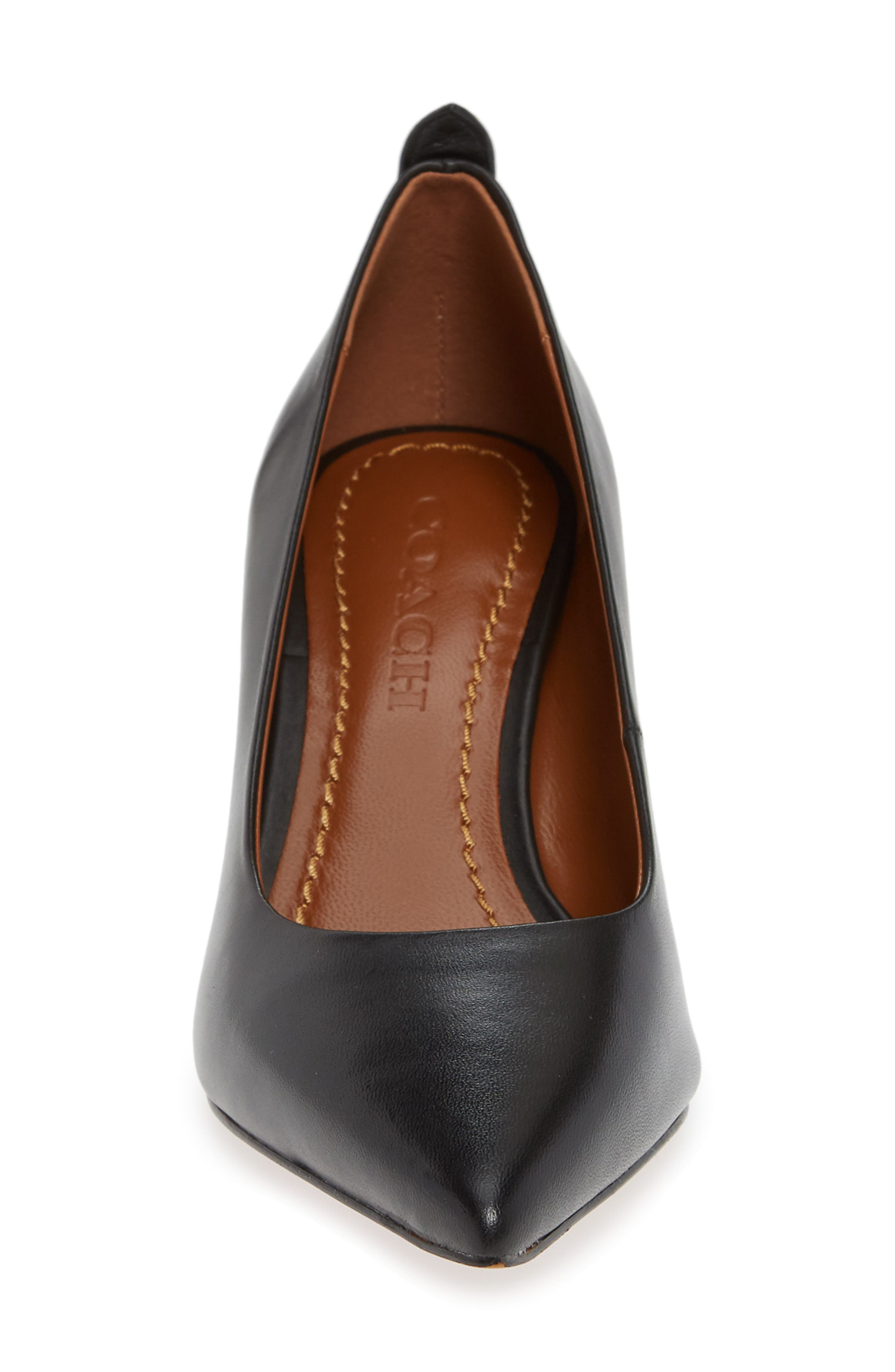 COACH, Waverly Mid Heel Pump, Alternate thumbnail 4, color, BLACK LEATHER