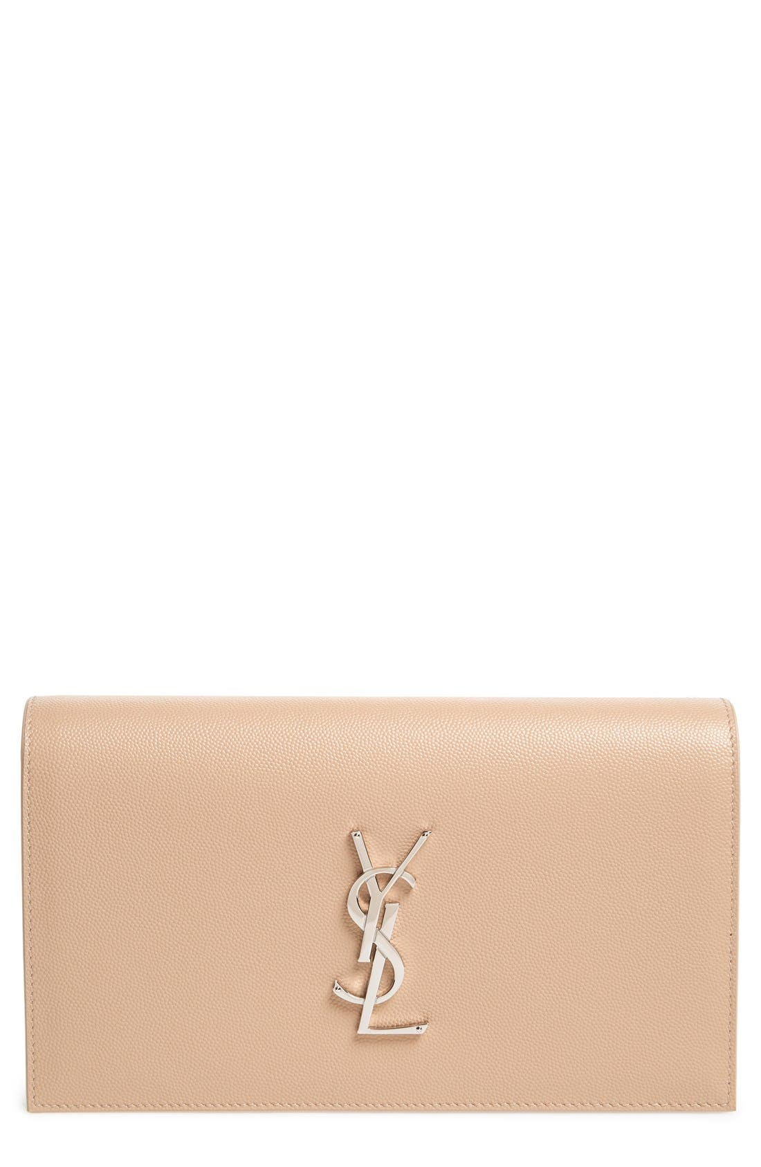 SAINT LAURENT 'Monogram' Leather Clutch, Main, color, 250