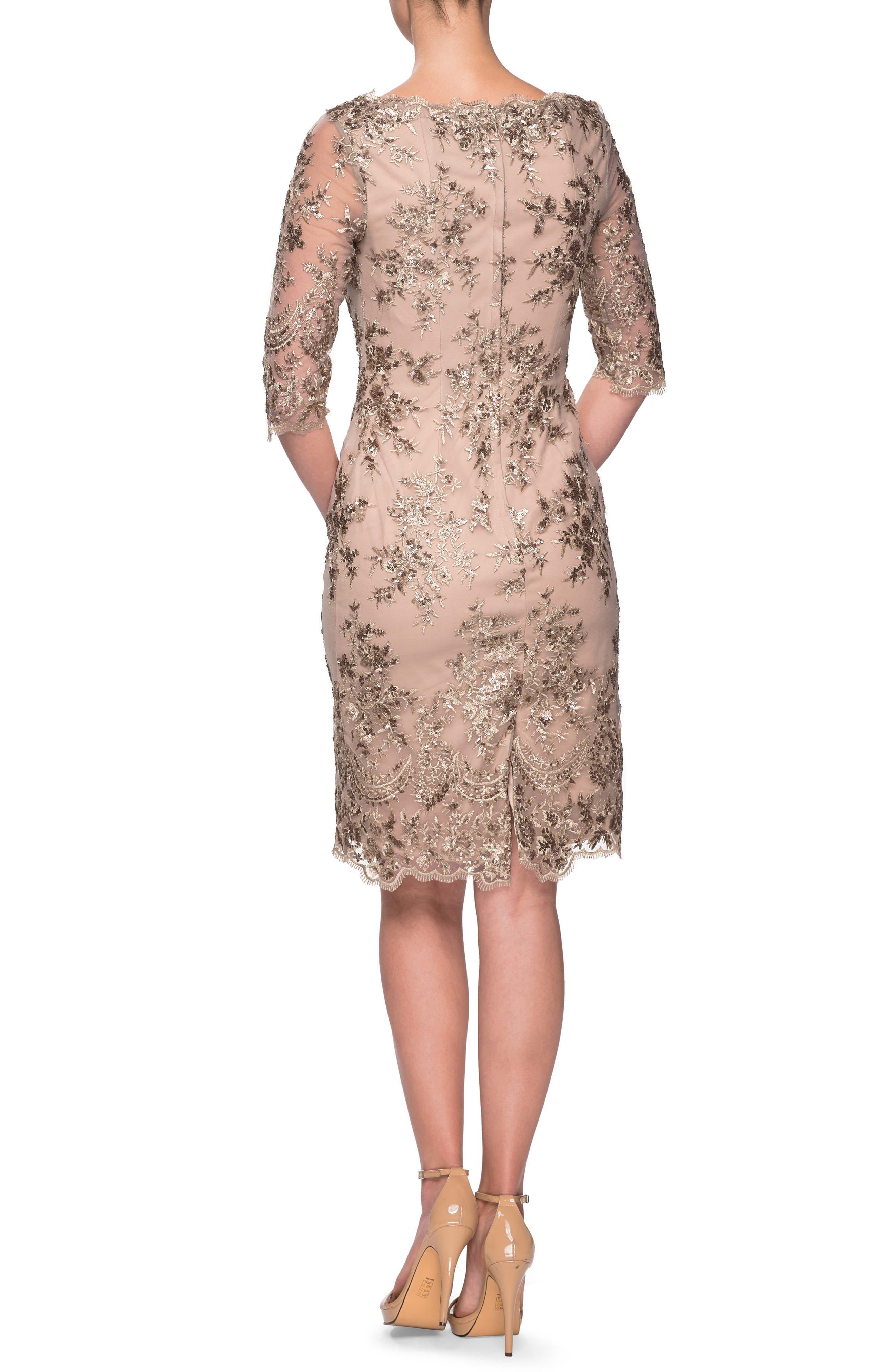 LA FEMME, Embroidered Lace Sheath Dress, Alternate thumbnail 2, color, GOLD/ NUDE