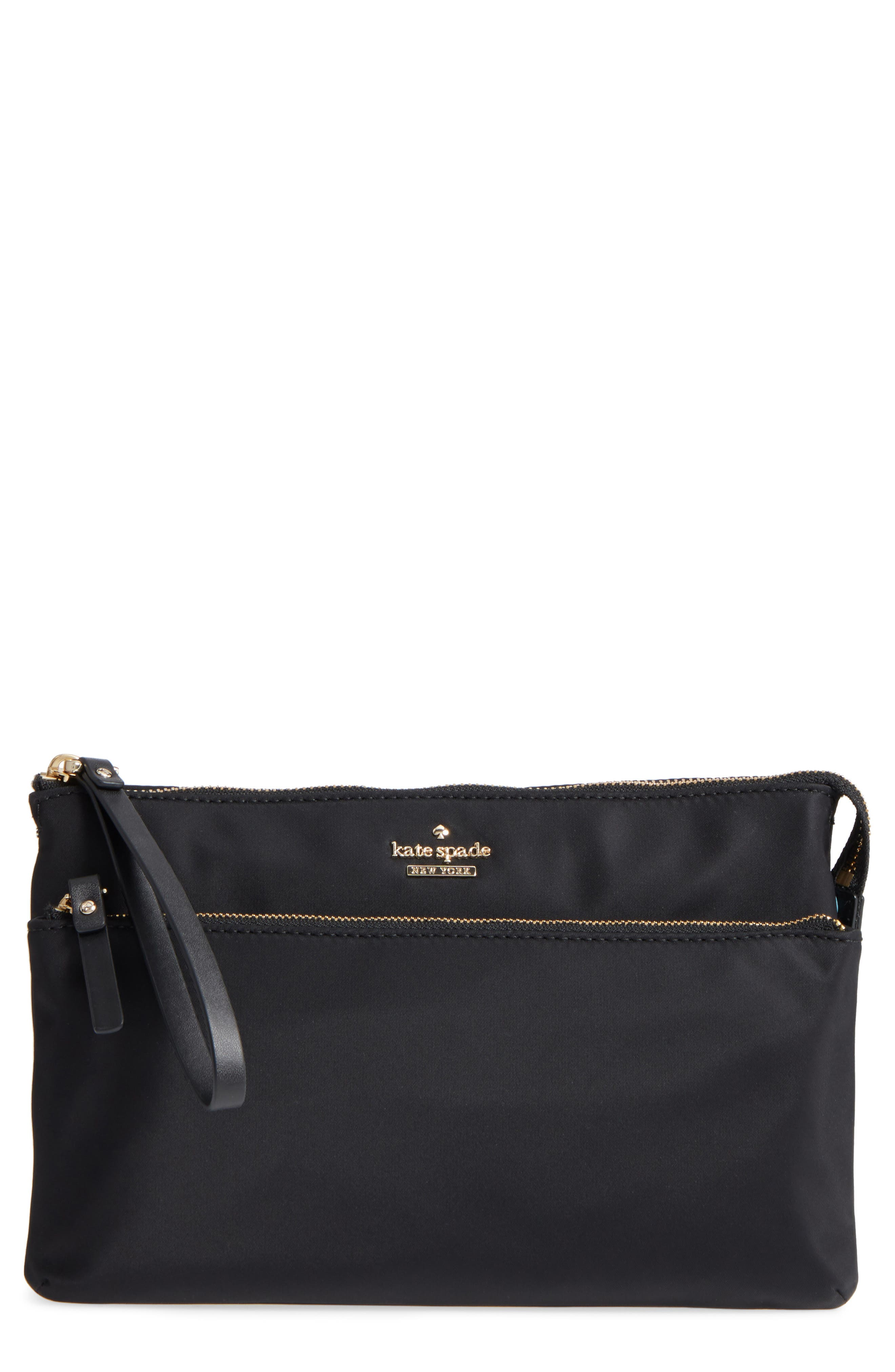 KATE SPADE NEW YORK, watson lane winnie baby nylon pouch with changing mat, Main thumbnail 1, color, 001