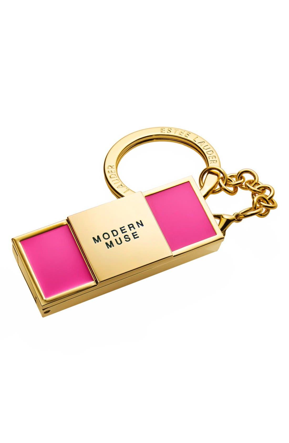 ESTÉE LAUDER, 'Evelyn Lauder & Elizabeth Hurley Dream Pink -Modern Muse' Solid Perfume Keychain, Main thumbnail 1, color, 000
