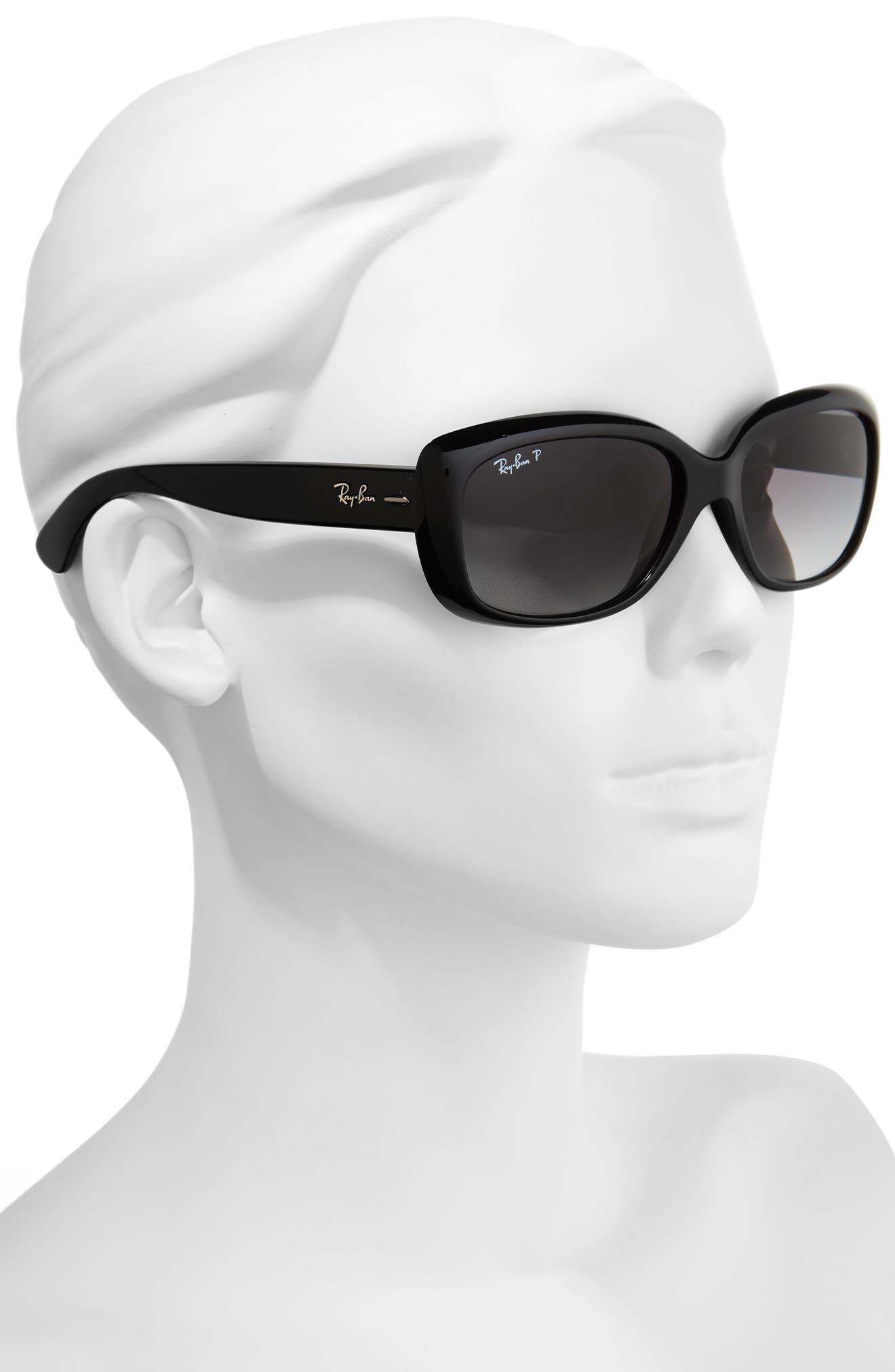 RAY-BAN, 58mm Polarized Sunglasses, Alternate thumbnail 2, color, BLACK GREY