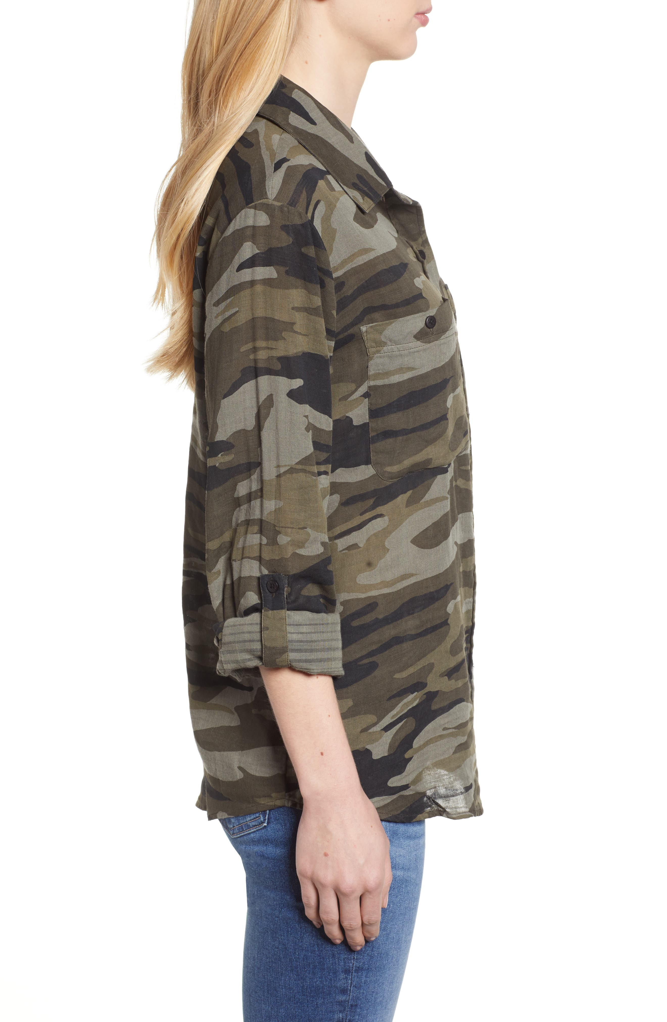 SANCTUARY, Steady Boyfriend Camo Shirt, Alternate thumbnail 4, color, GARDEN CAMO