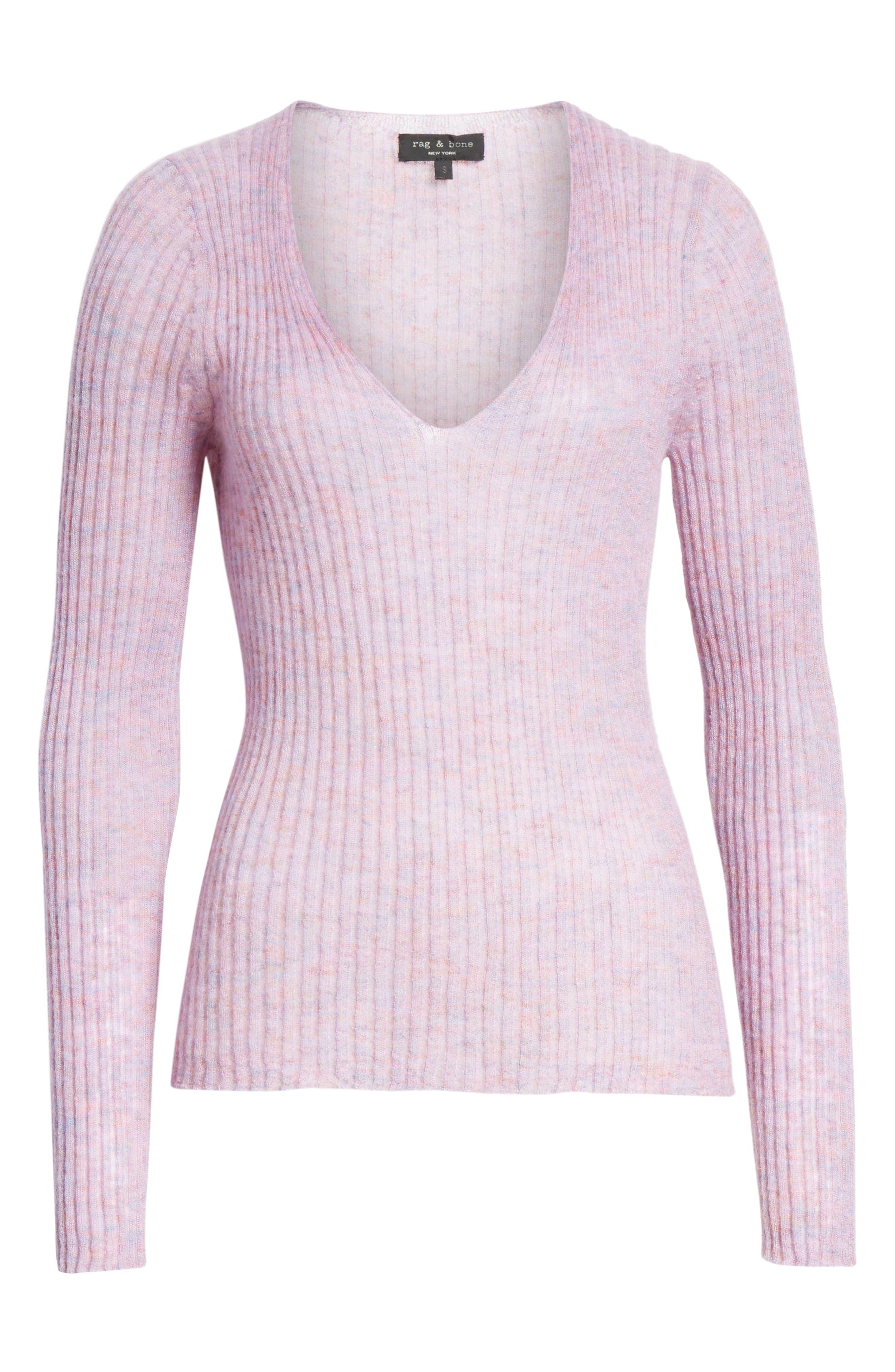 RAG & BONE, Donna Mohair Blend Sweater, Alternate thumbnail 6, color, LILAC