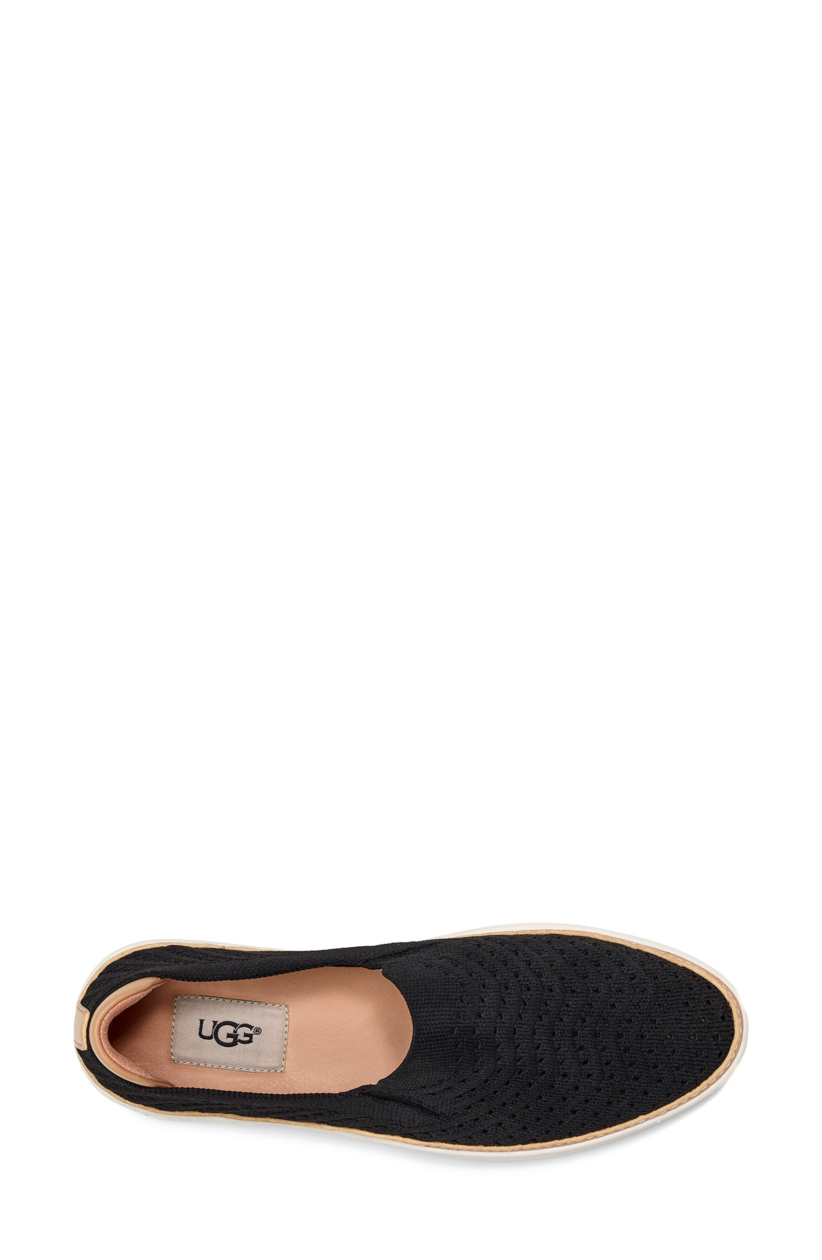 UGG<SUP>®</SUP>, Sammy Slip-On Sneaker, Alternate thumbnail 4, color, BLACK FABRIC