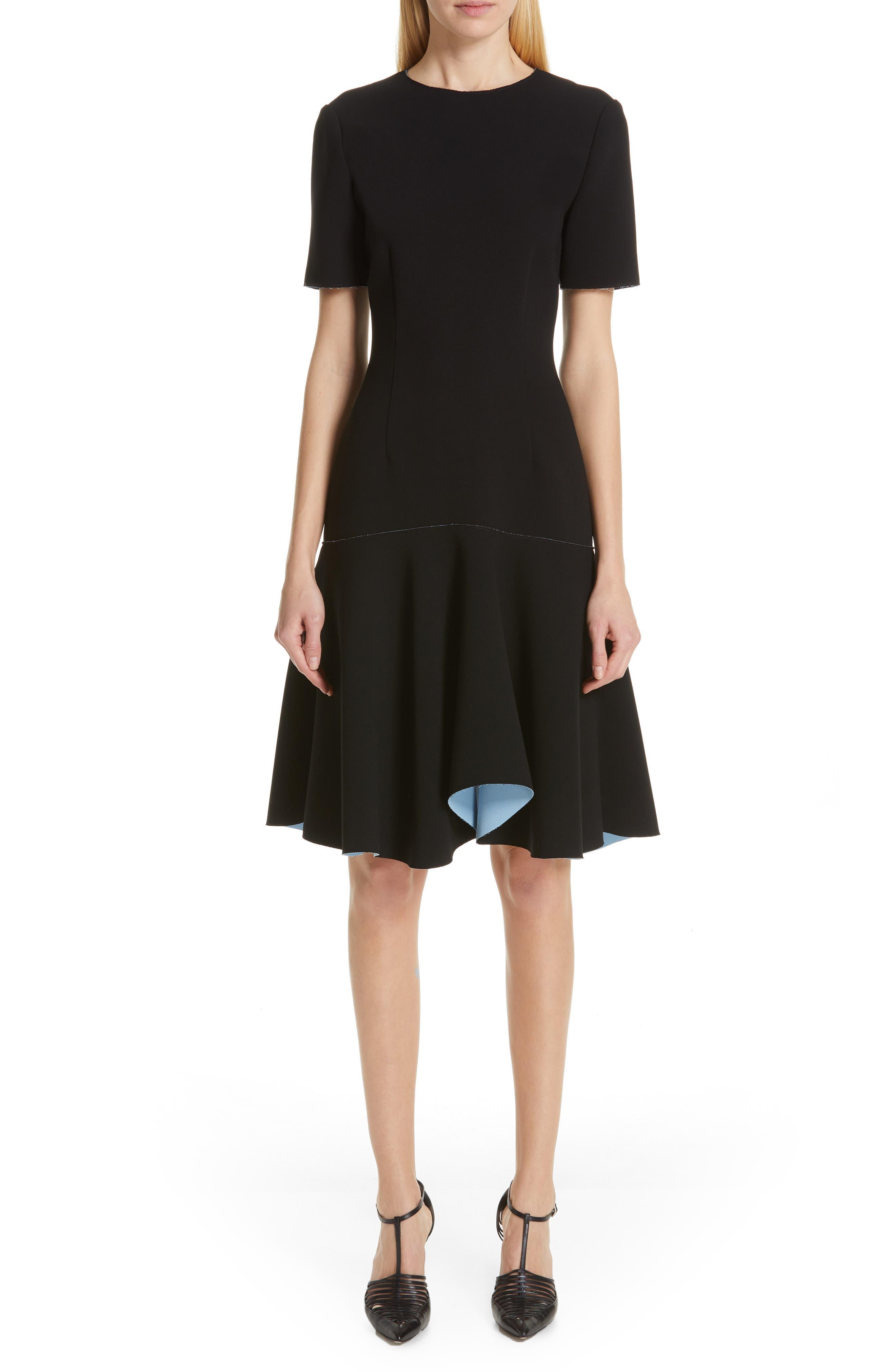Jason Wu Collection Compact Crepe Flounce Dress, Black